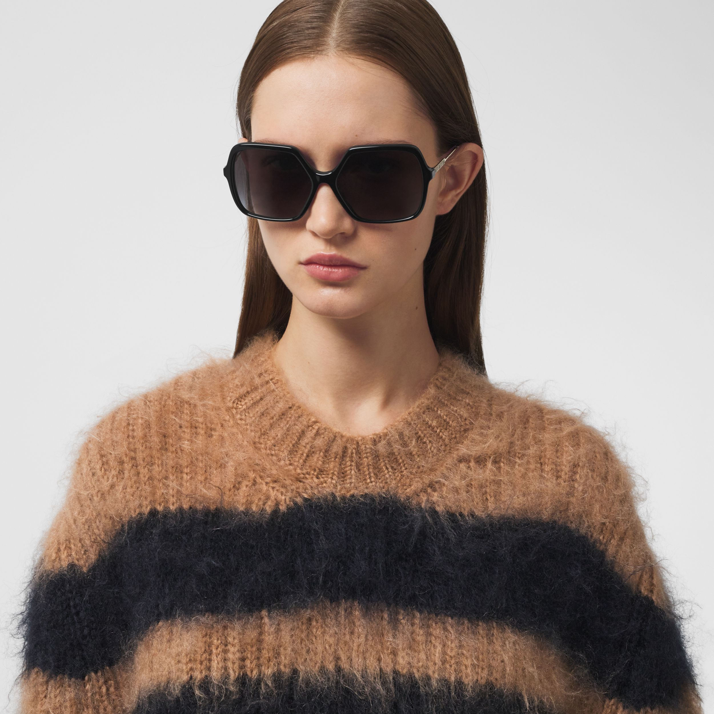 Stripe Intarsia Mohair Silk Oversized Sweater in Beige - Women | Burberry - 2