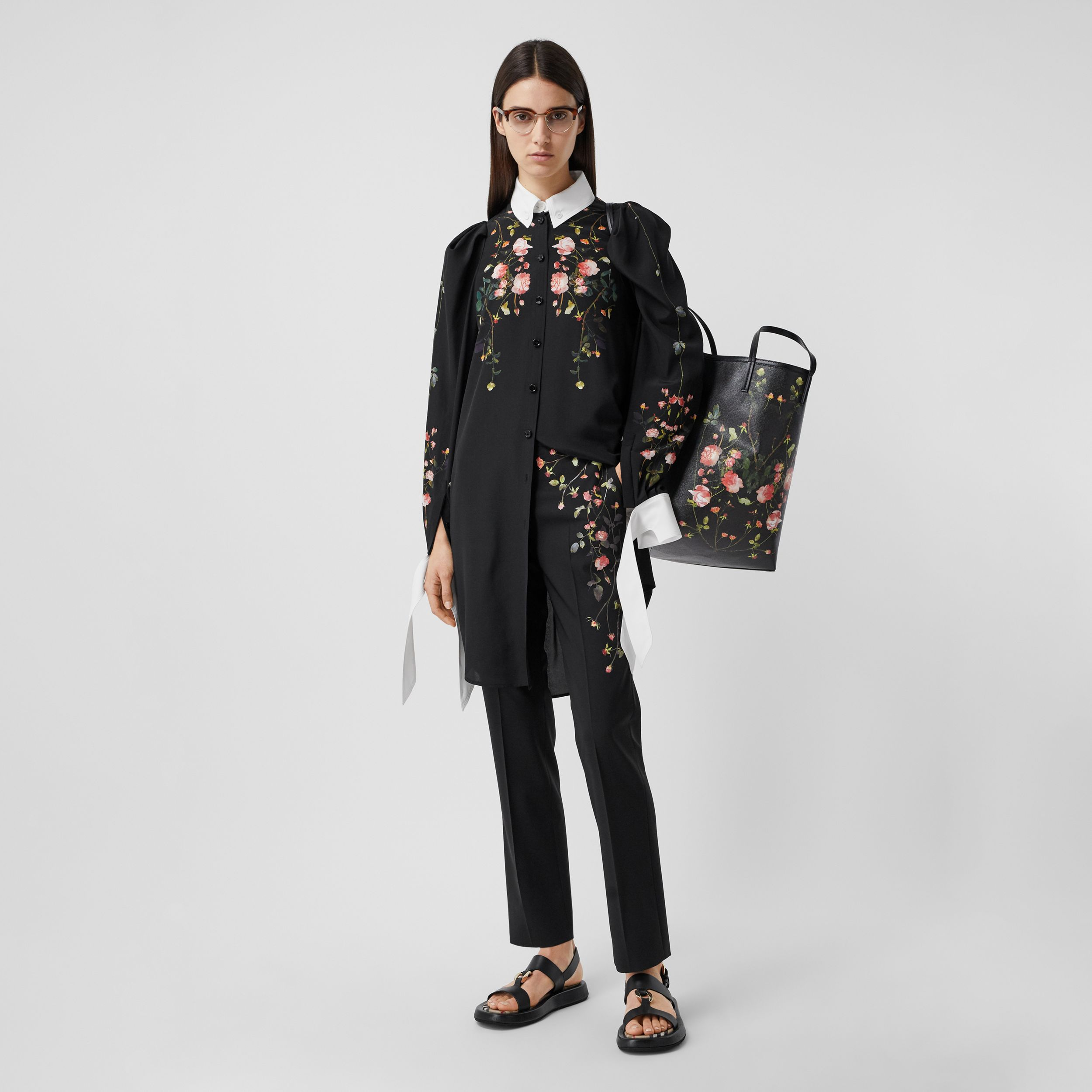 Rose Print Silk Crepe De Chine Shirt Dress in Black - Women | Burberry - 1