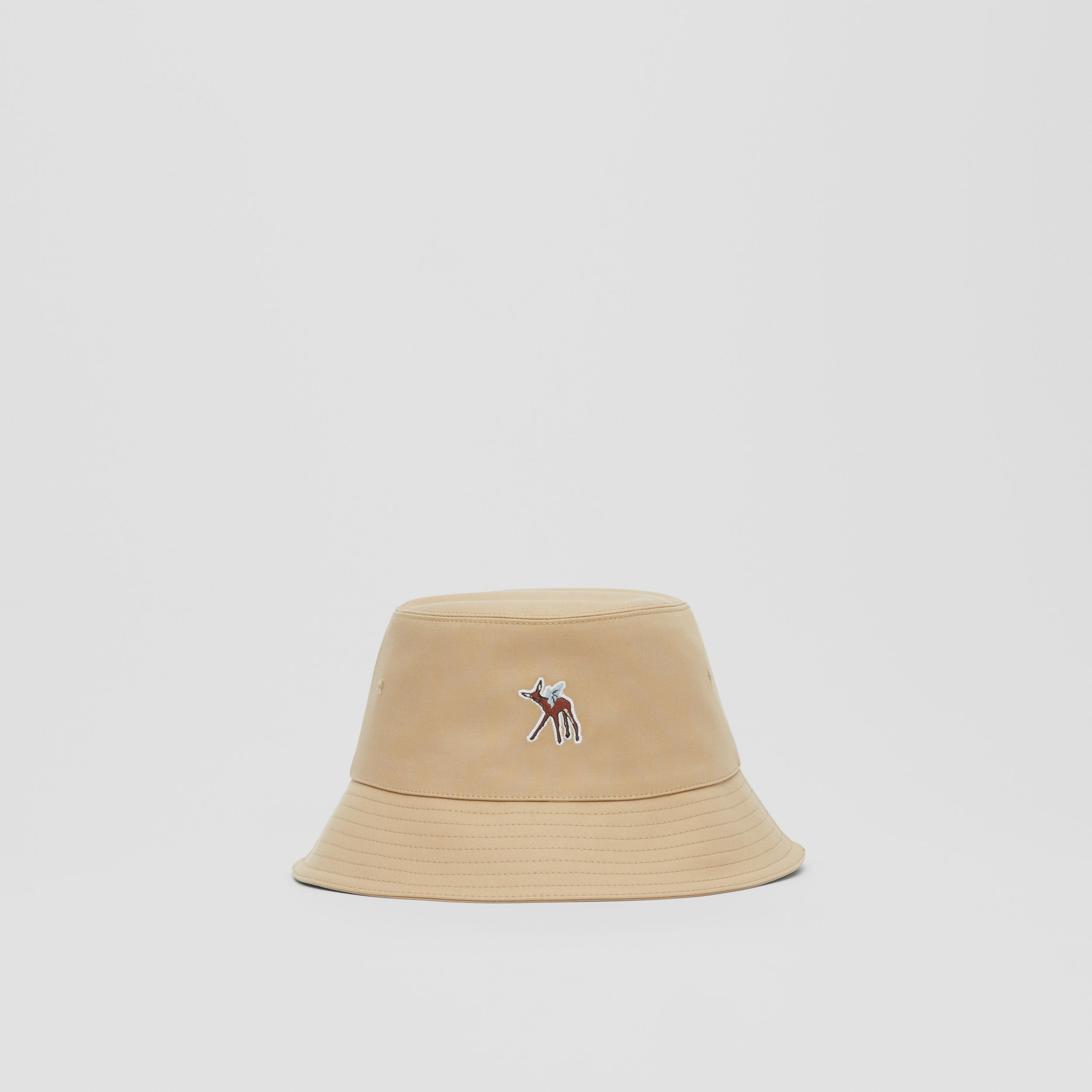 Deer Motif Cotton Bucket Hat in Honey | Burberry Canada - 1