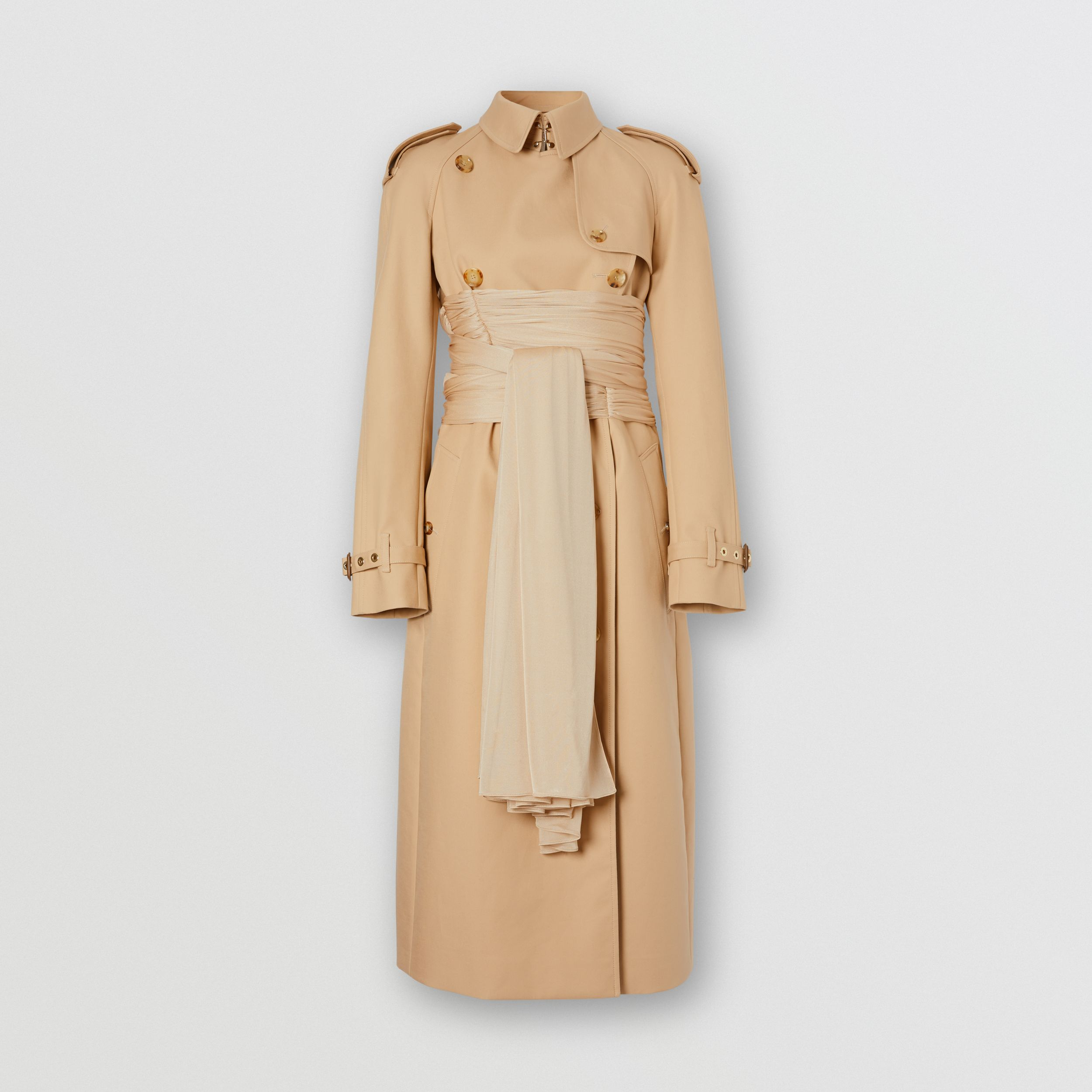 Jersey Sash Detail Cotton Gabardine Trench Coat in Soft Fawn - Women | Burberry United Kingdom - 4