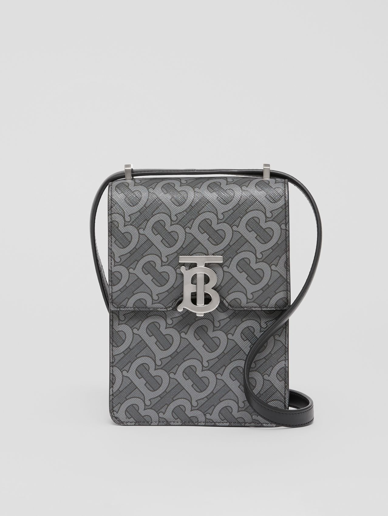 Monogram Print E-canvas Robin Bag in Charcoal/black