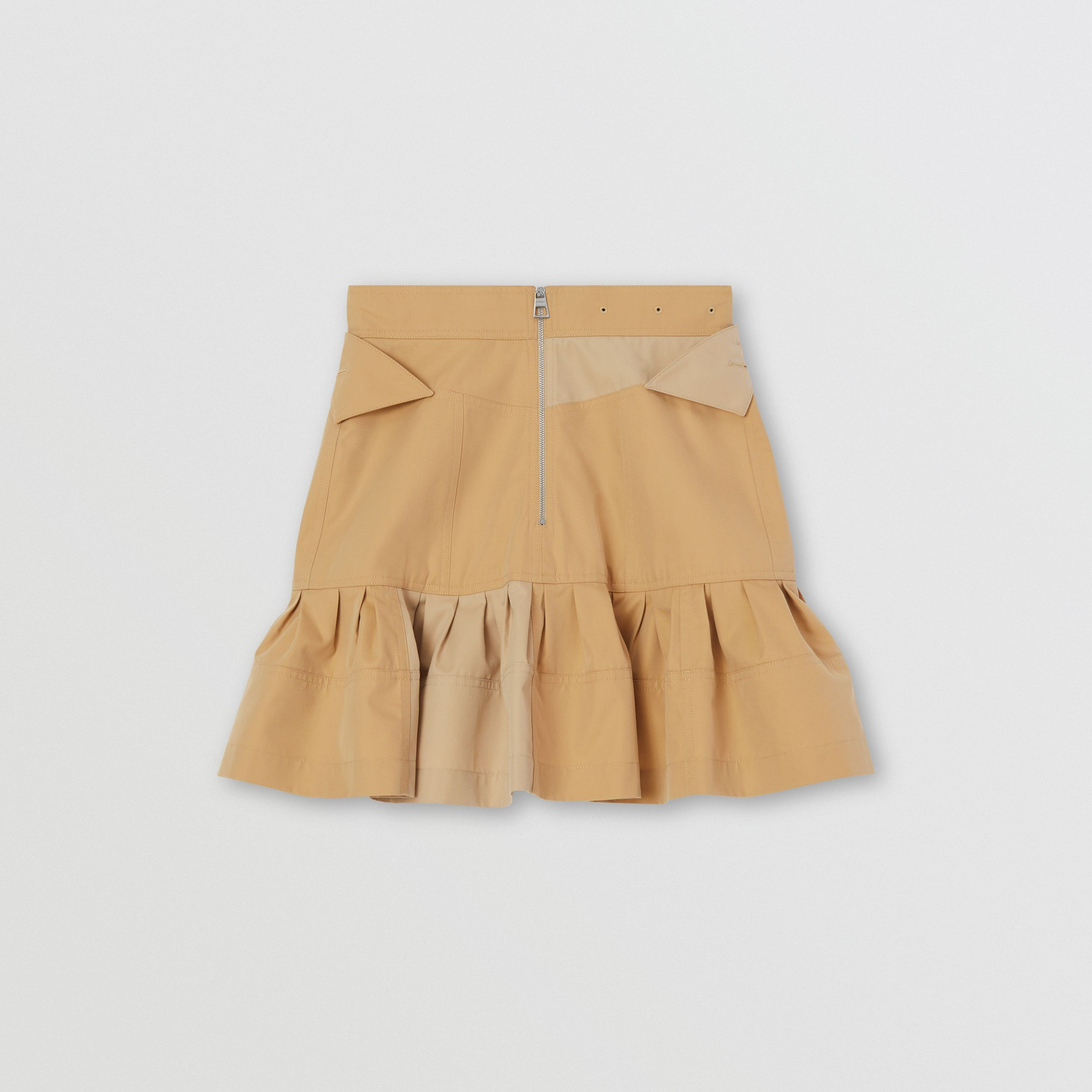 Fluted Two-tone Cotton Gabardine A-line Skirt in Honey - Women | Burberry - 2