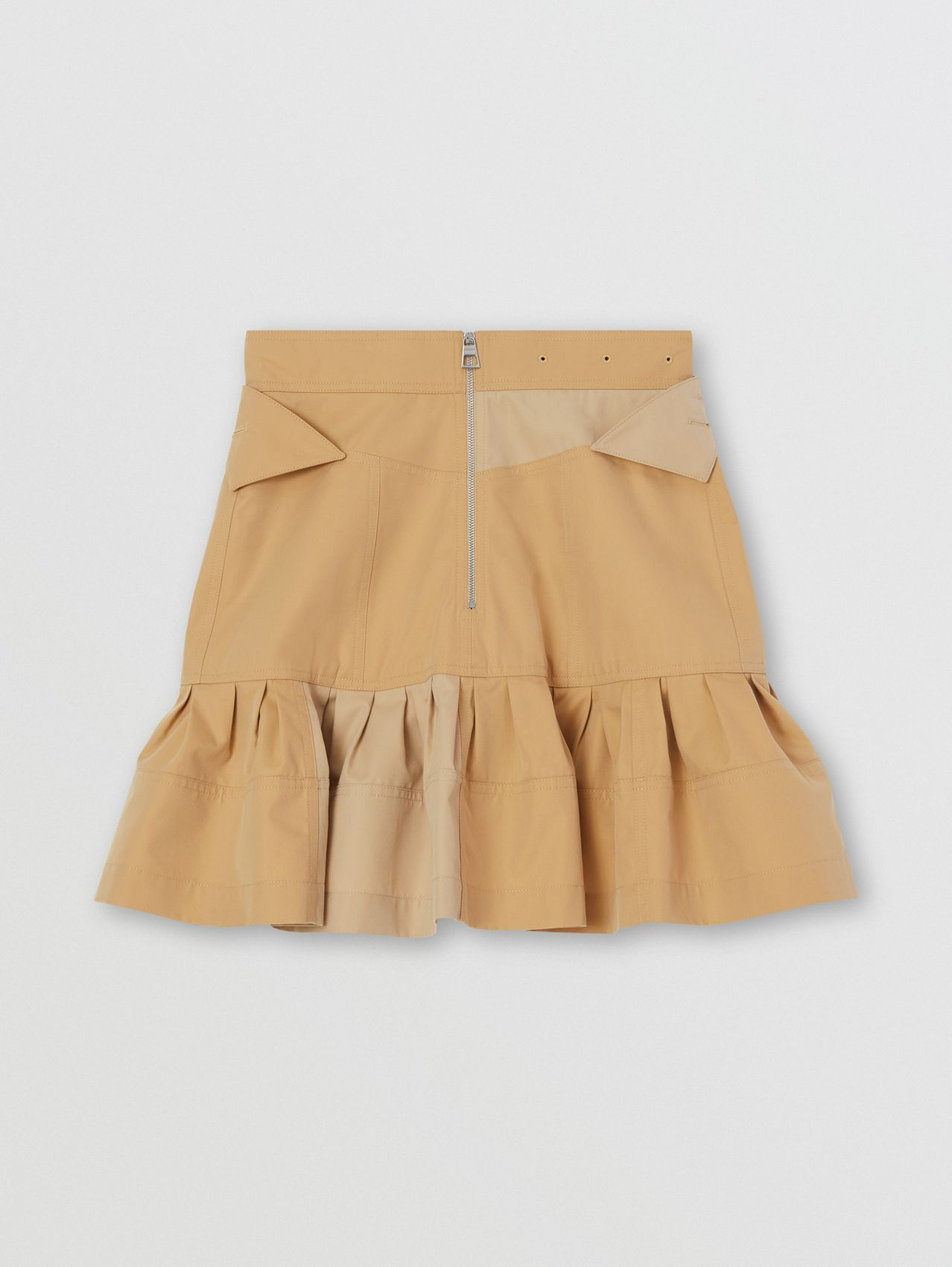 Fluted Two-tone Cotton Gabardine A-line Skirt in Honey