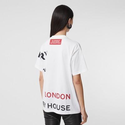 Horseferry Print Cotton Oversized T-shirt in White - Women | Burberry Australia