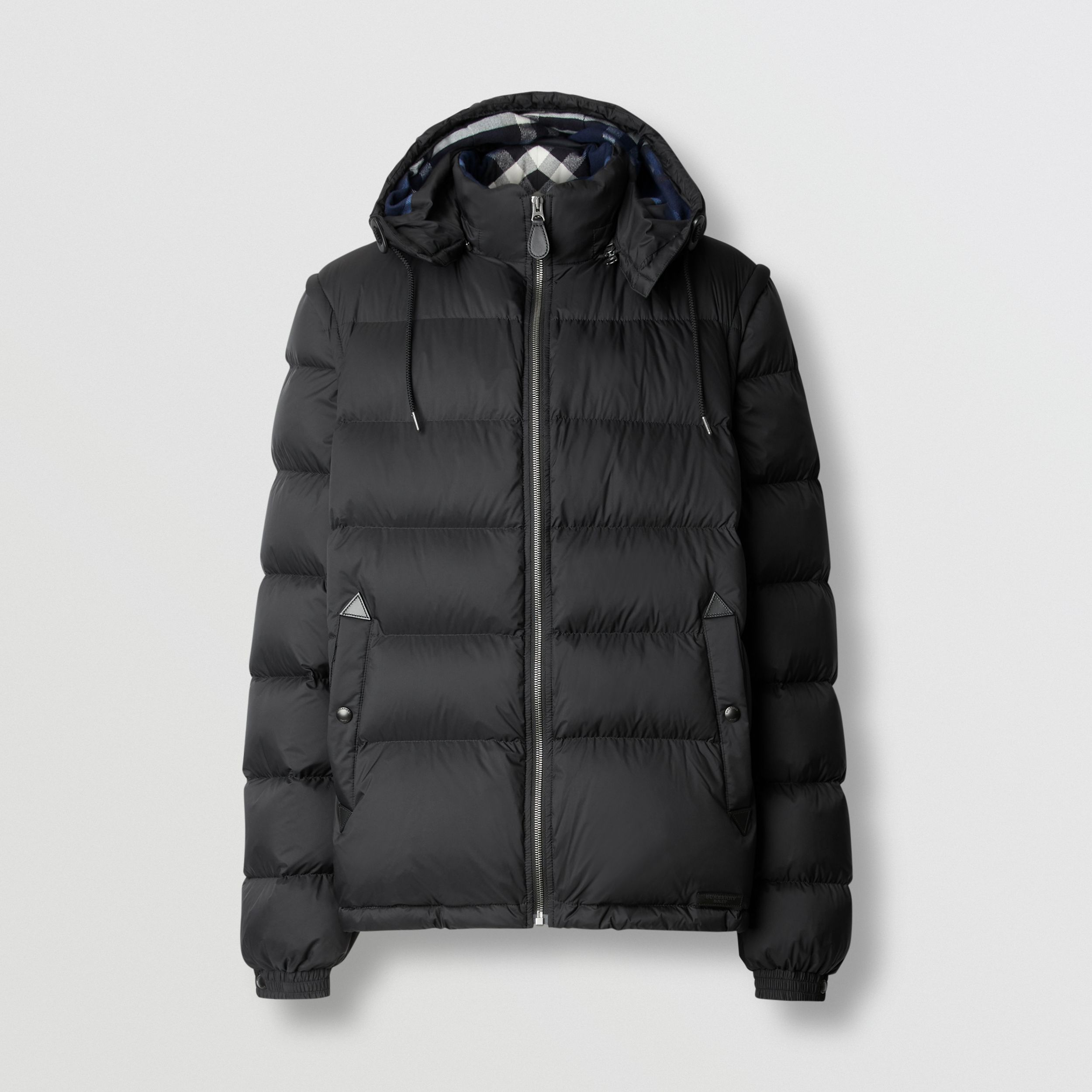 Detachable Sleeve Taffeta Puffer Jacket in Black - Men | Burberry - 1