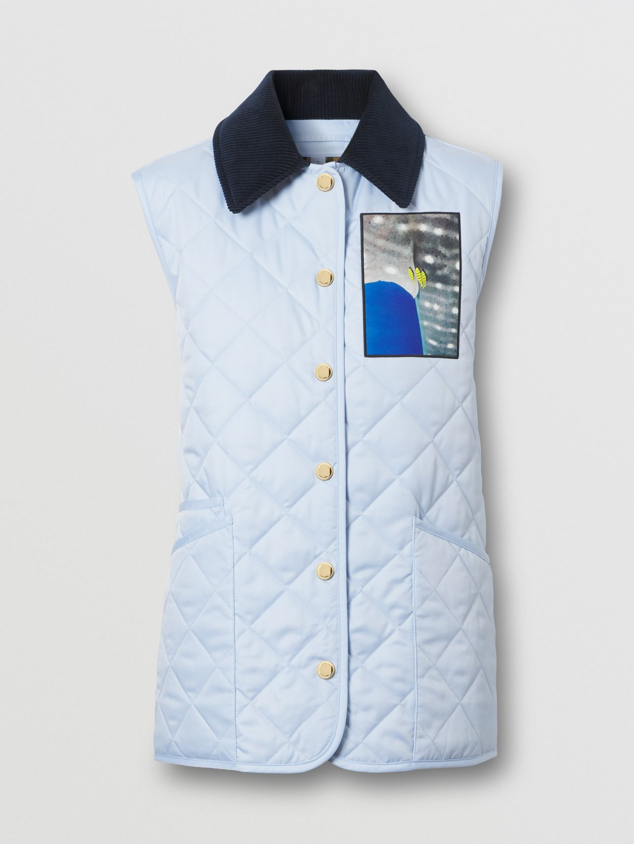 Montage Print Diamond Quilted Gilet in Pale Blue