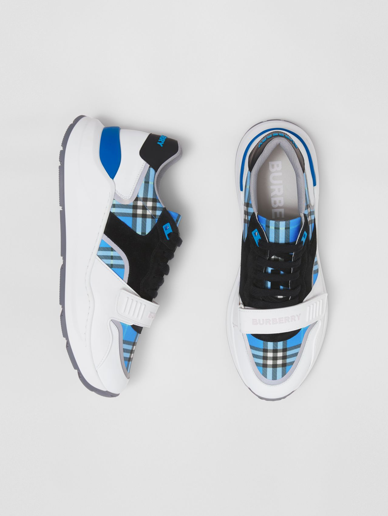 House Check, Leather and Suede Sneakers in Azure Blue