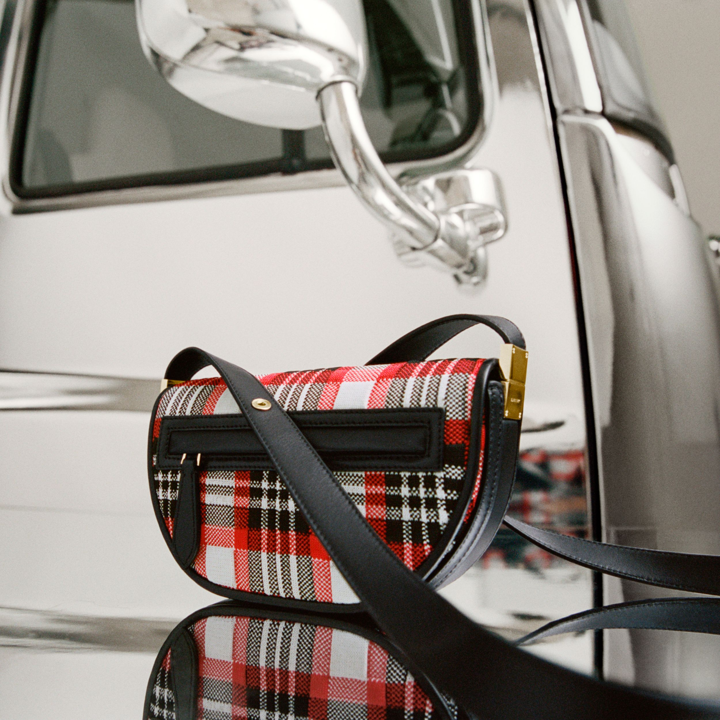 Mini Knitted Tartan and Leather Olympia Bag in Bright Red | Burberry Hong Kong S.A.R. - 2
