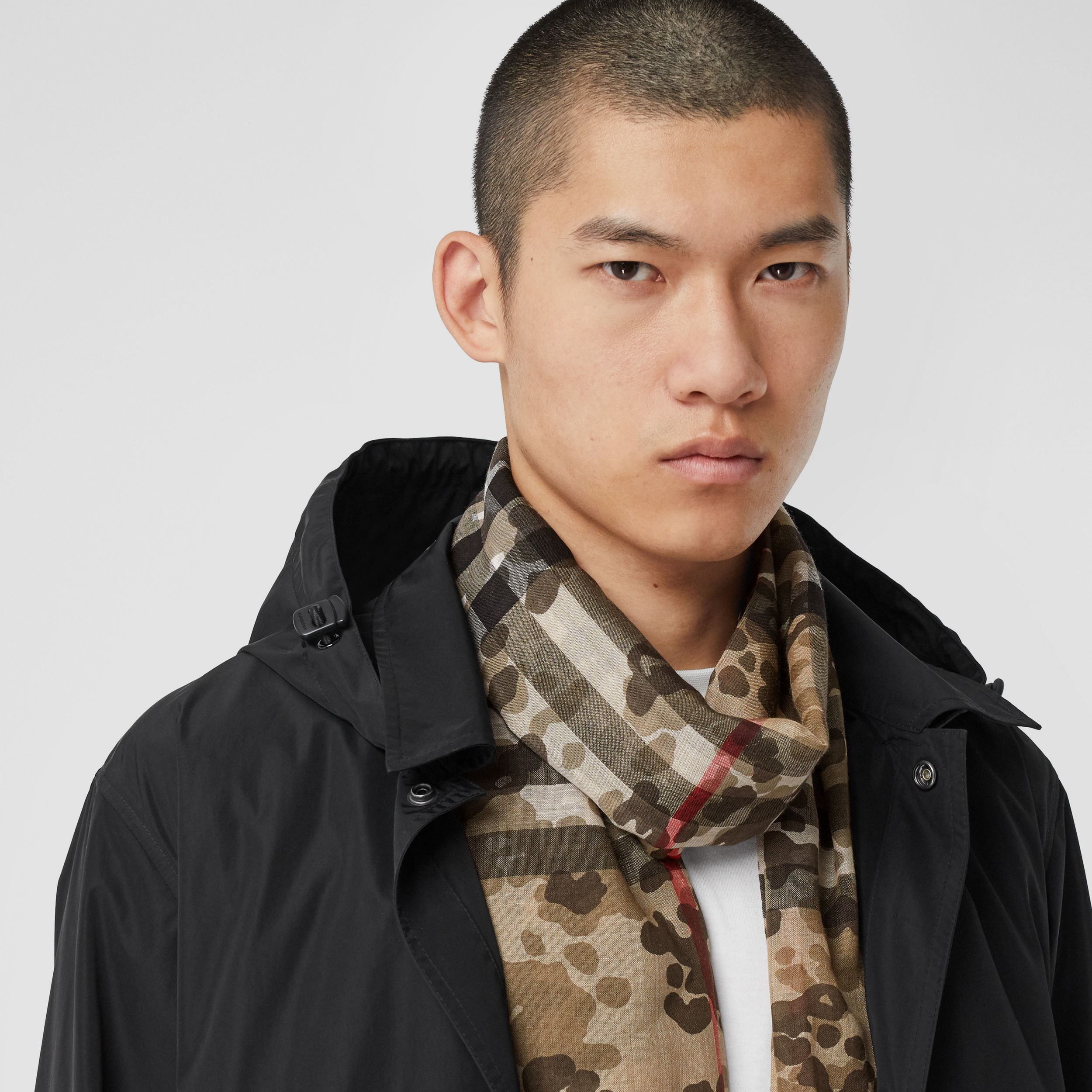 Lightweight Camouflage Check Wool Silk Scarf | Burberry - 4