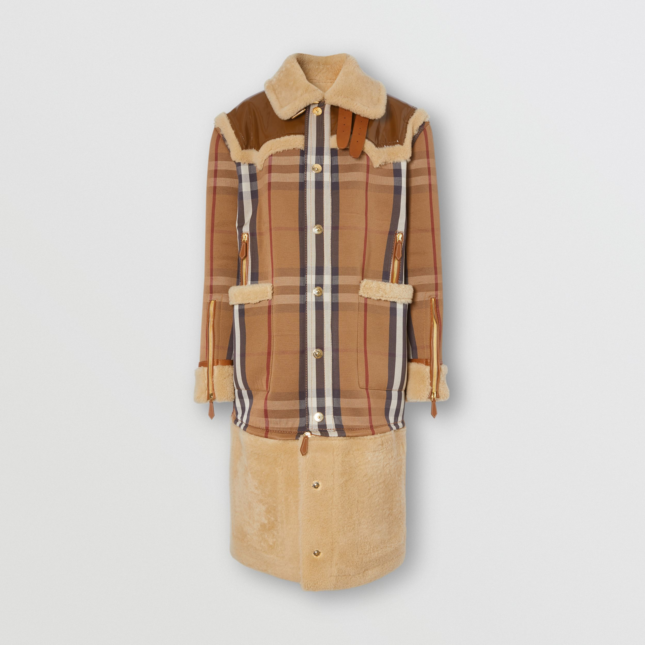 Cappotto in shearling e cotone tecnico con motivo House check (Marrone Betulla) | Burberry - 4
