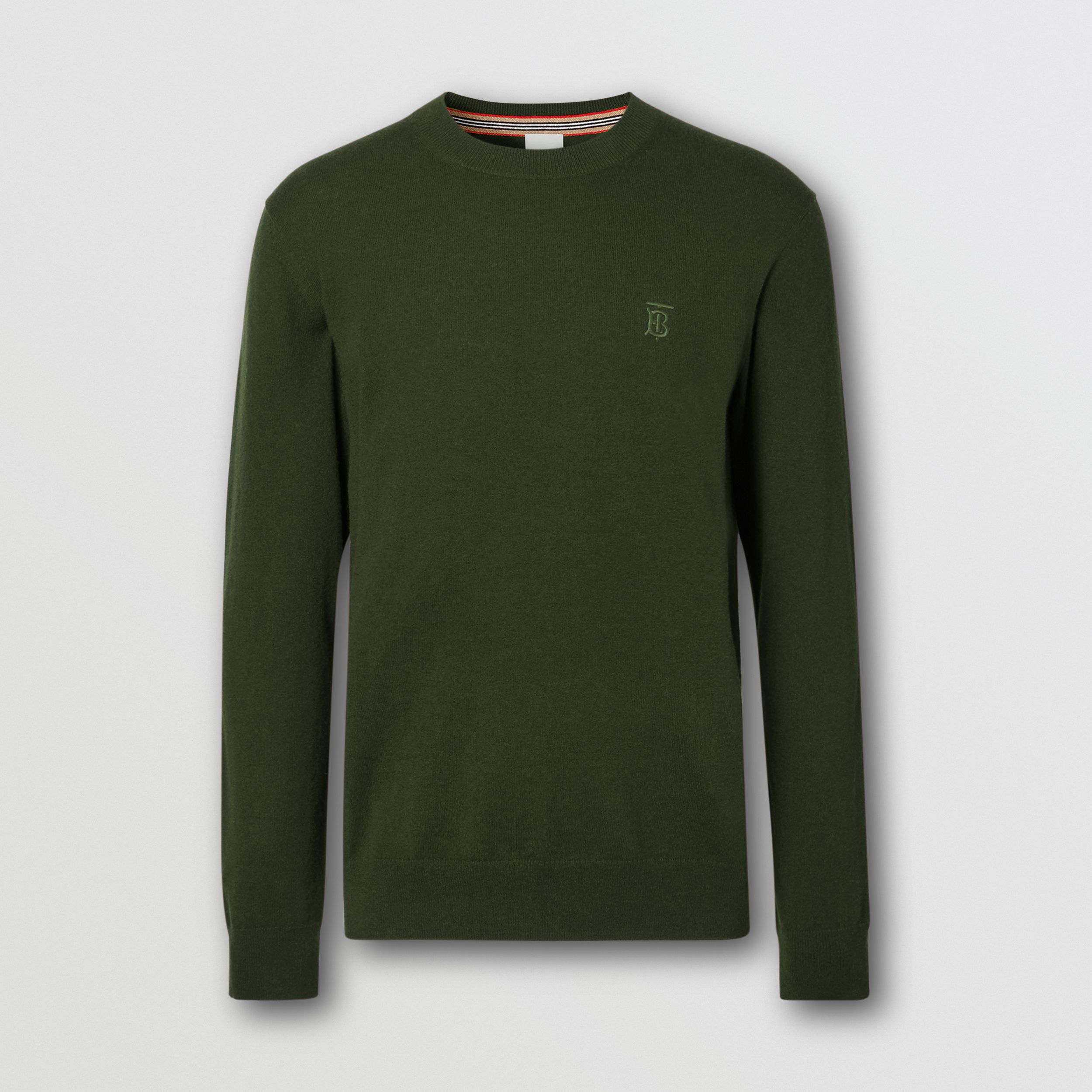 Monogram Motif Cashmere Sweater in Deep Khaki - Men | Burberry - 4