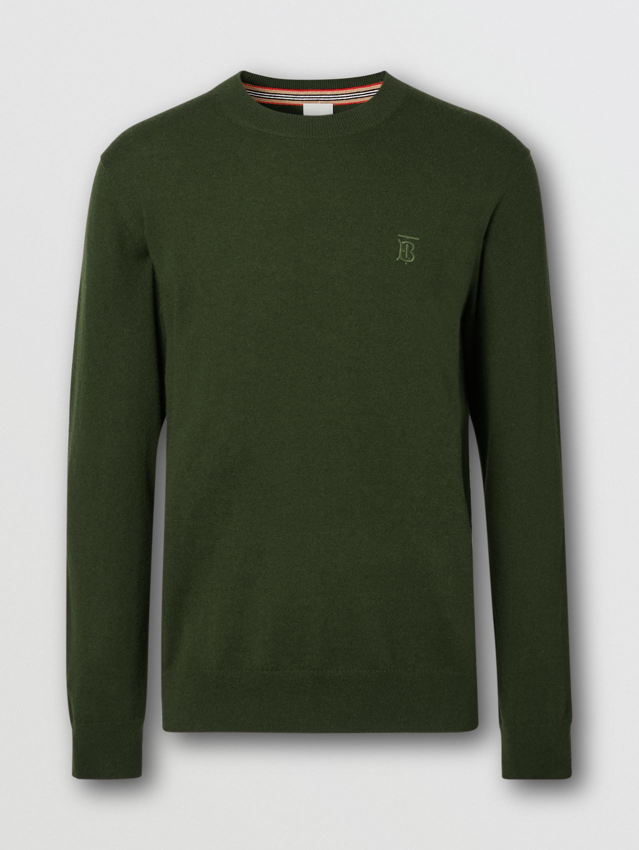 Monogram Motif Cashmere Sweater in Deep Khaki