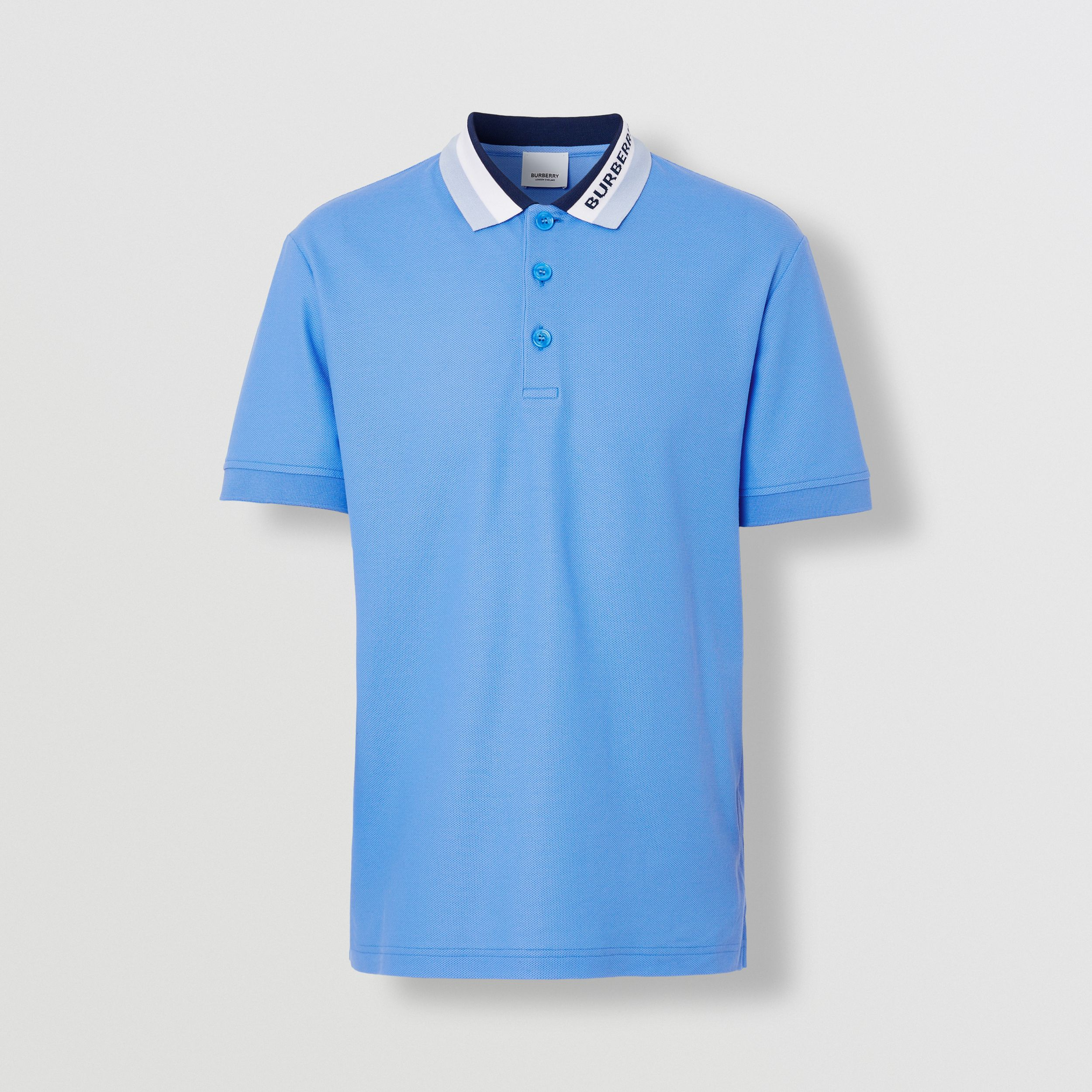 Logo Detail Cotton Piqué Polo Shirt in Vivid Cobalt - Men | Burberry - 4