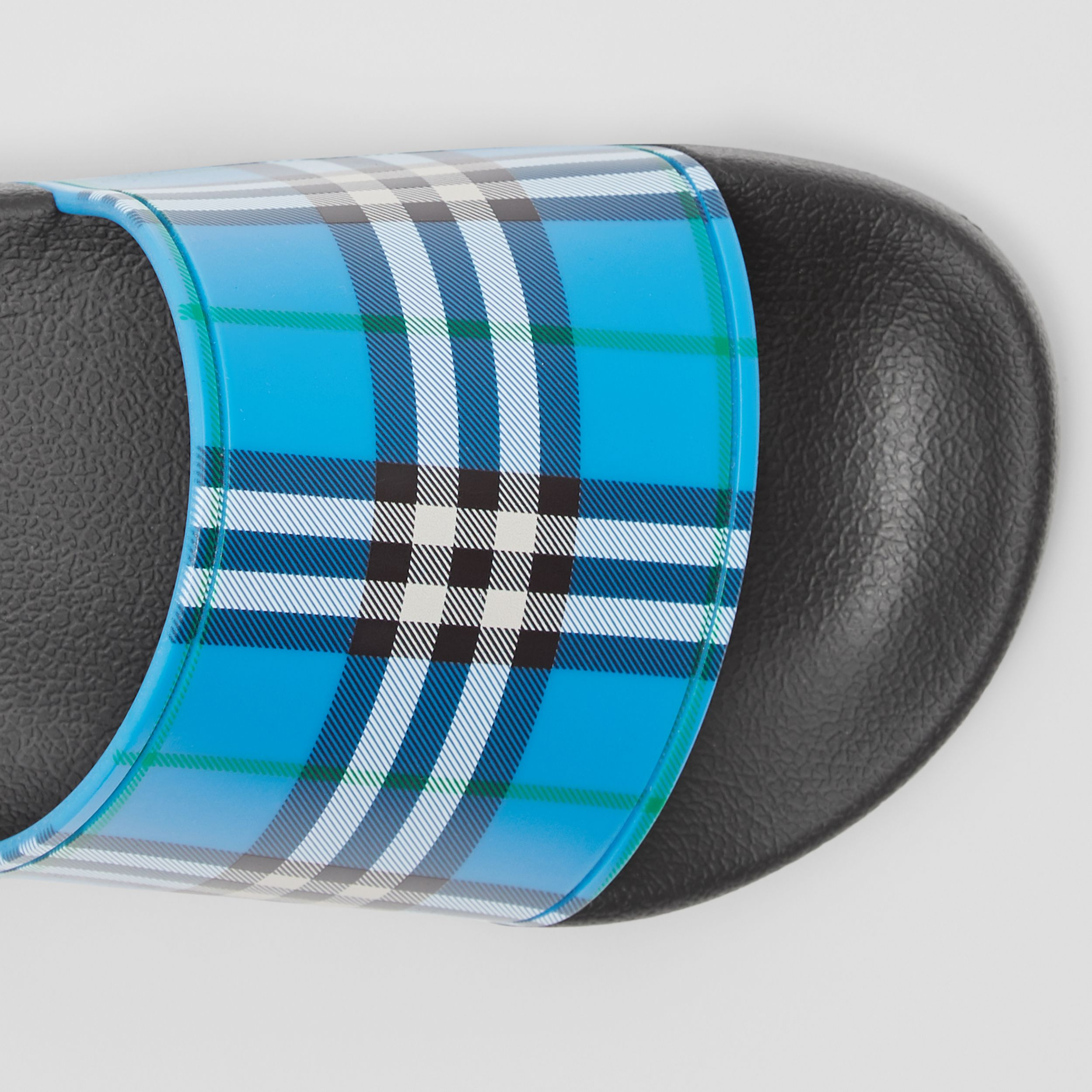 Check Print Slides in Blue Azure - Women | Burberry - 2