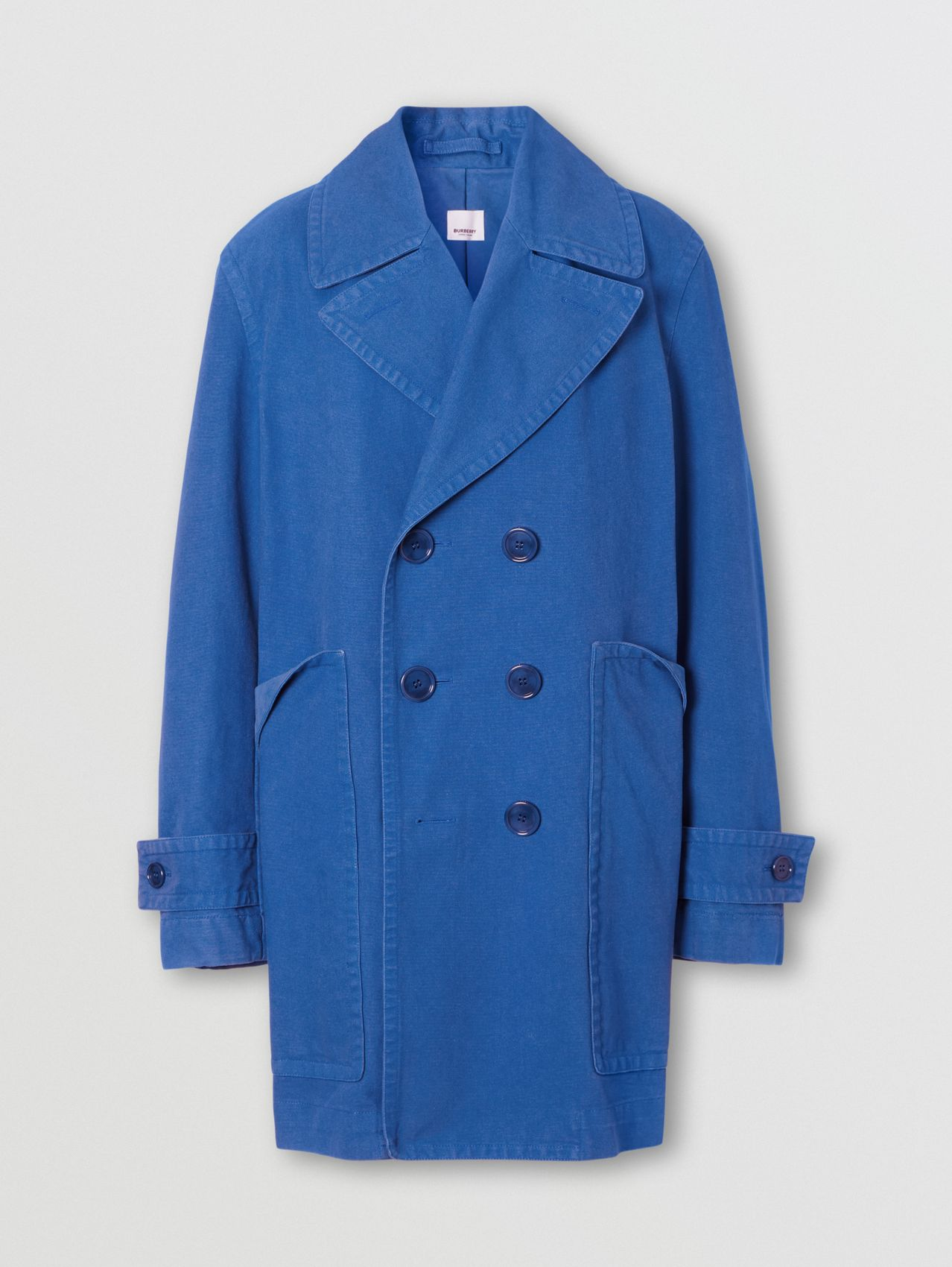 Pocket Detail Cotton Canvas Pea Coat in Warm Royal Blue