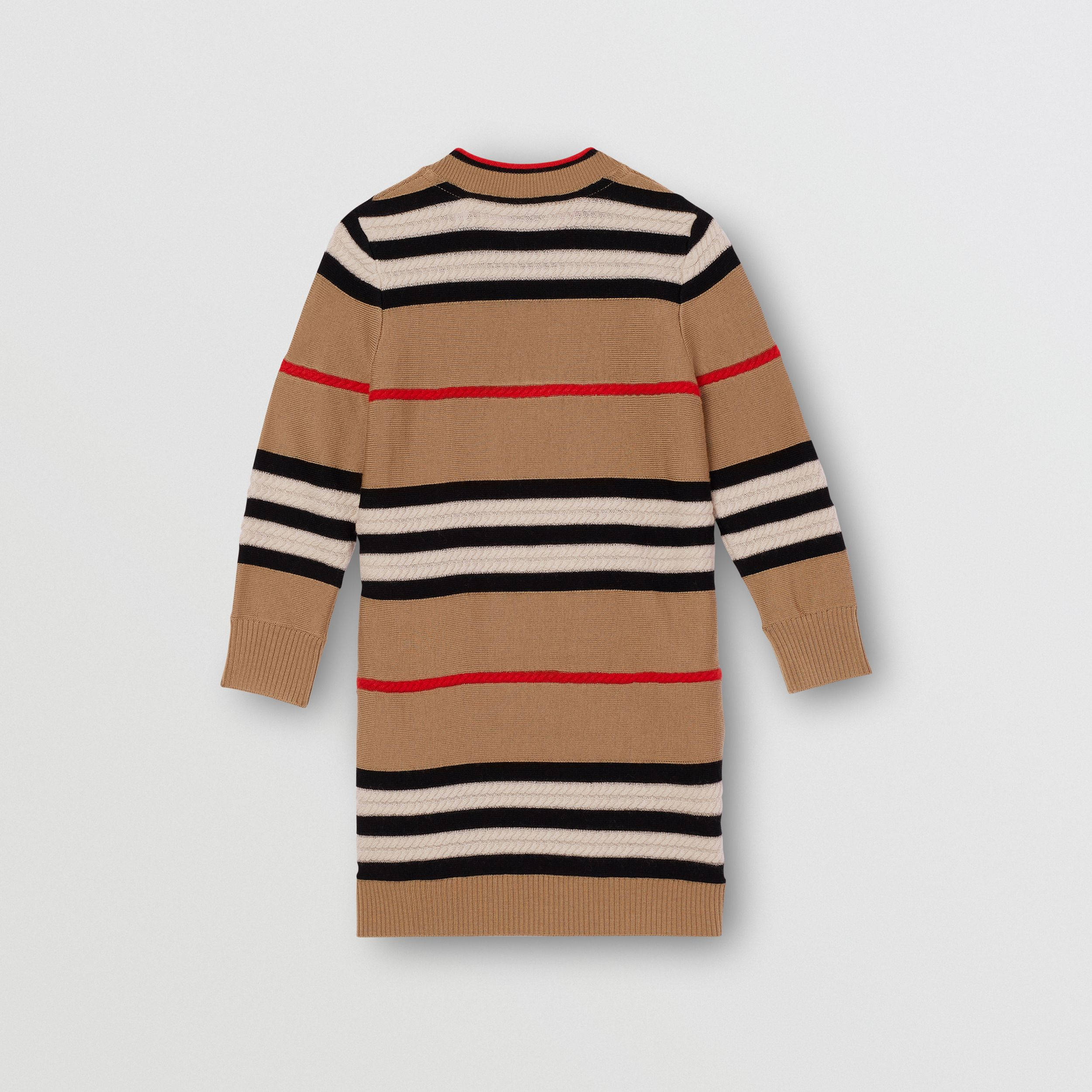Icon Stripe Wool Cashmere Sweater Dress in Archive Beige | Burberry Australia - 4
