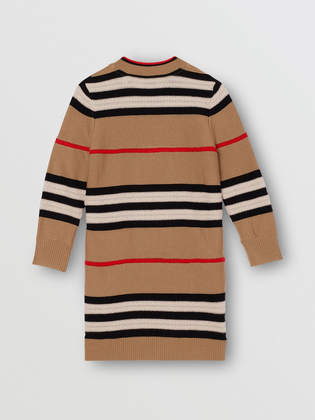 Icon Stripe Wool Cashmere Sweater Dress in Archive Beige