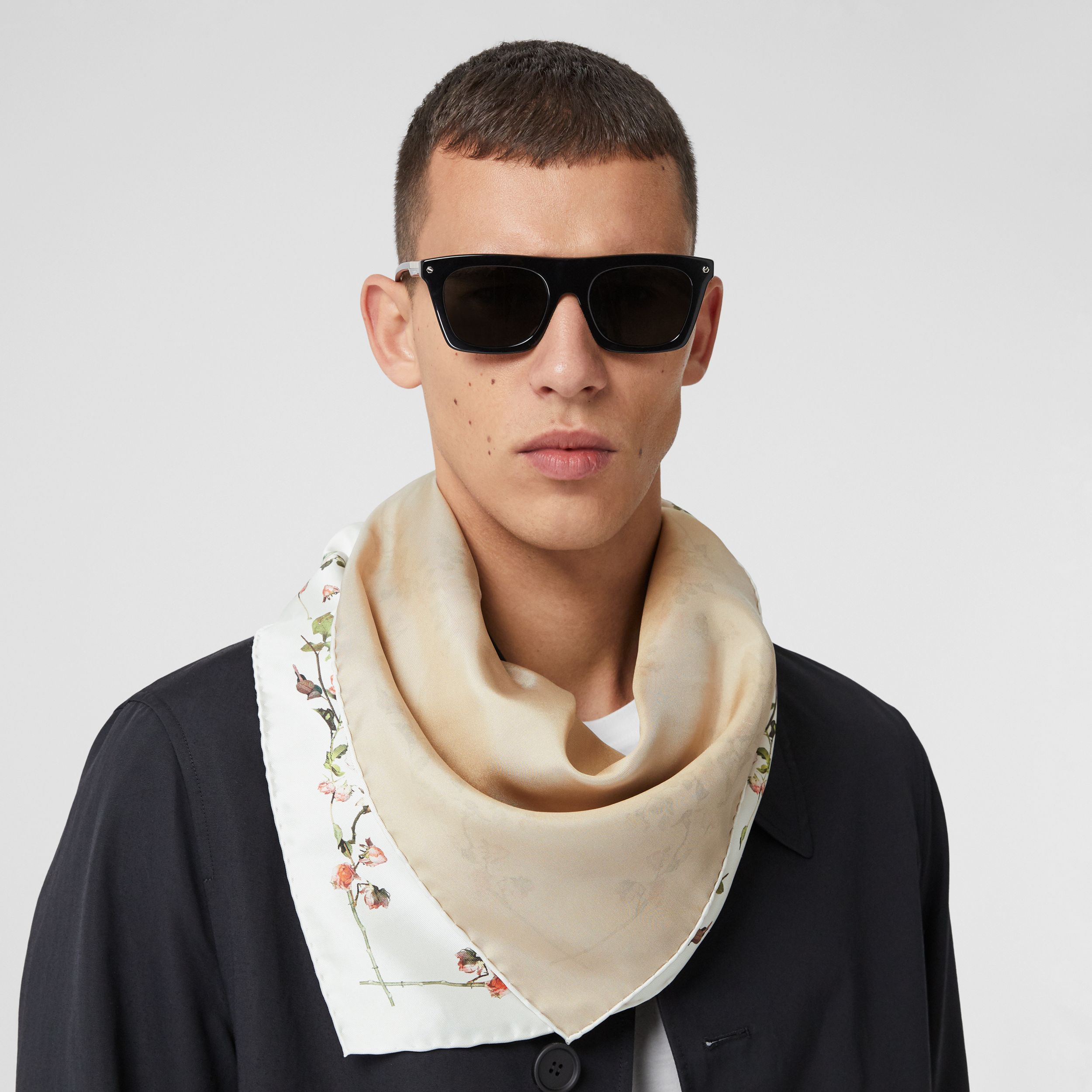 Rose Print Silk Square Scarf in White | Burberry - 4