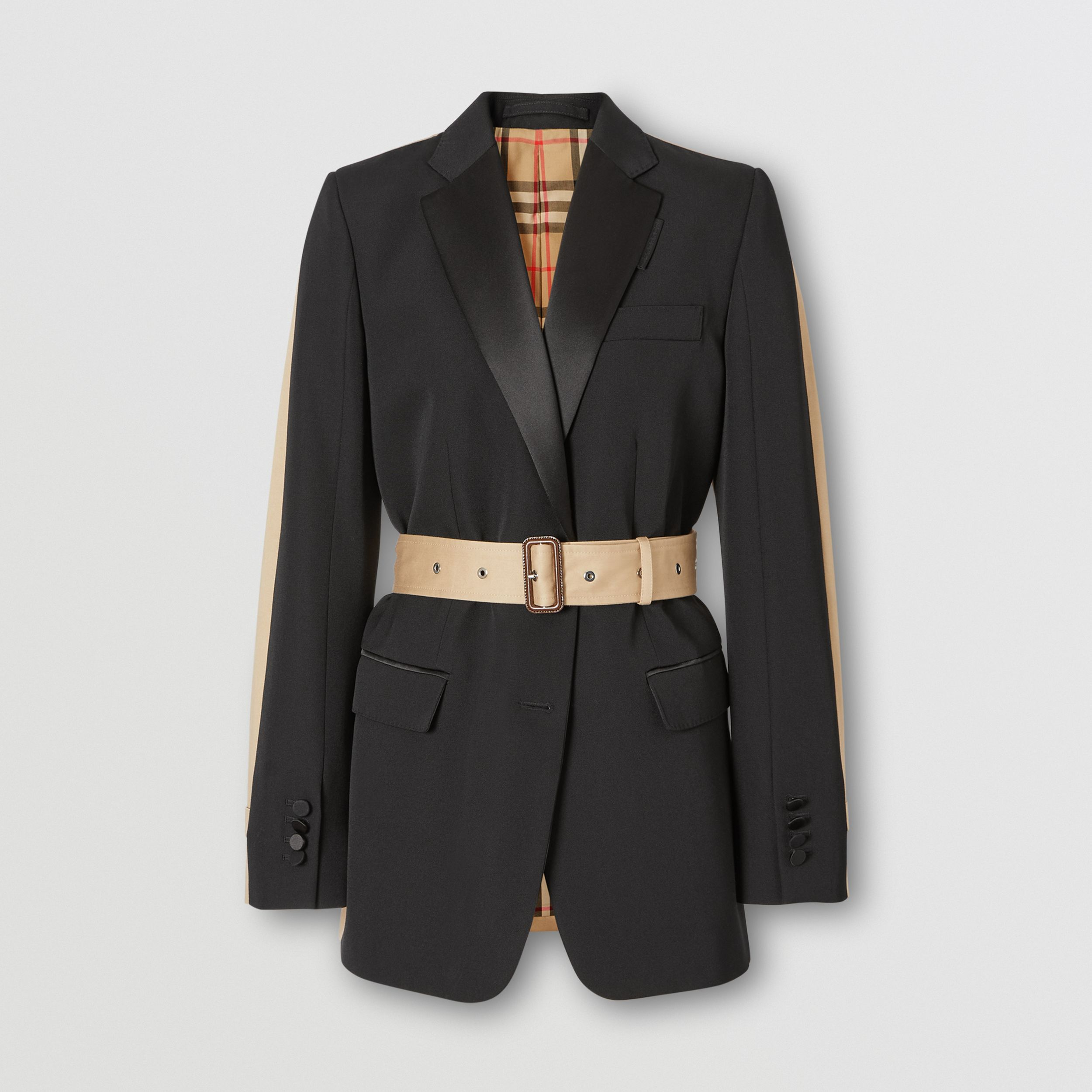 Grain De Poudre Wool and Cotton Tuxedo Jacket in Black | Burberry - 4