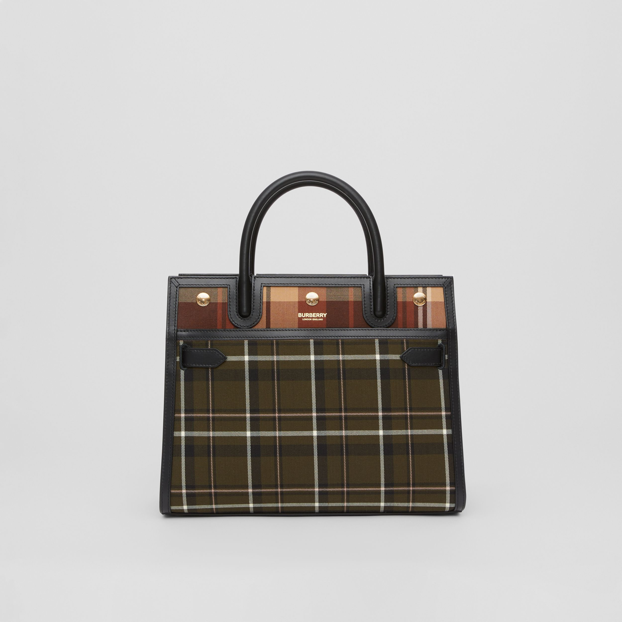Small Tartan Wool Two-handle Title Bag in Dark Green - Women | Burberry Australia - 1