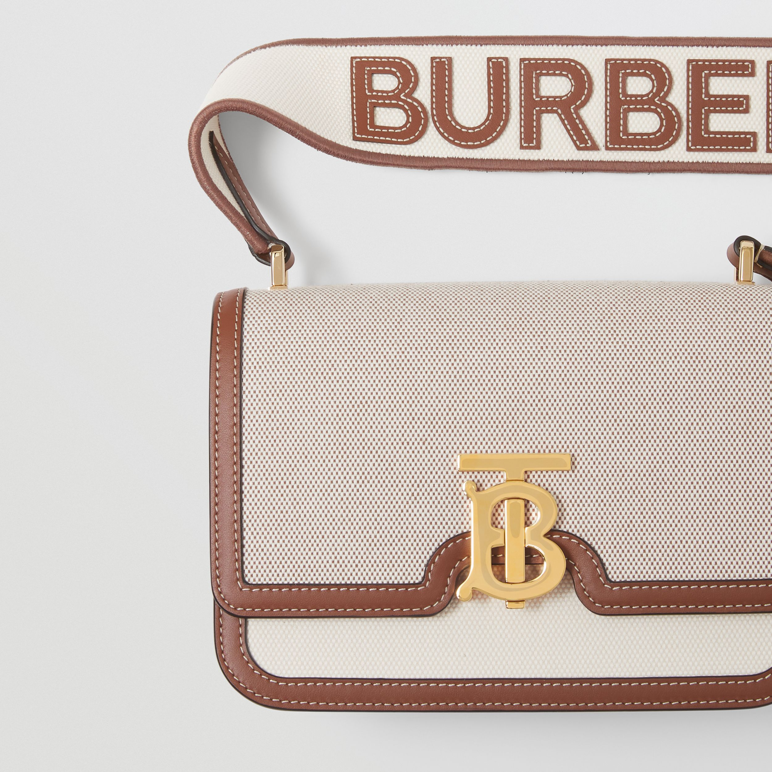 Small Cotton Canvas and Leather TB Bag in Soft Fawn/ecru - Women | Burberry - 2