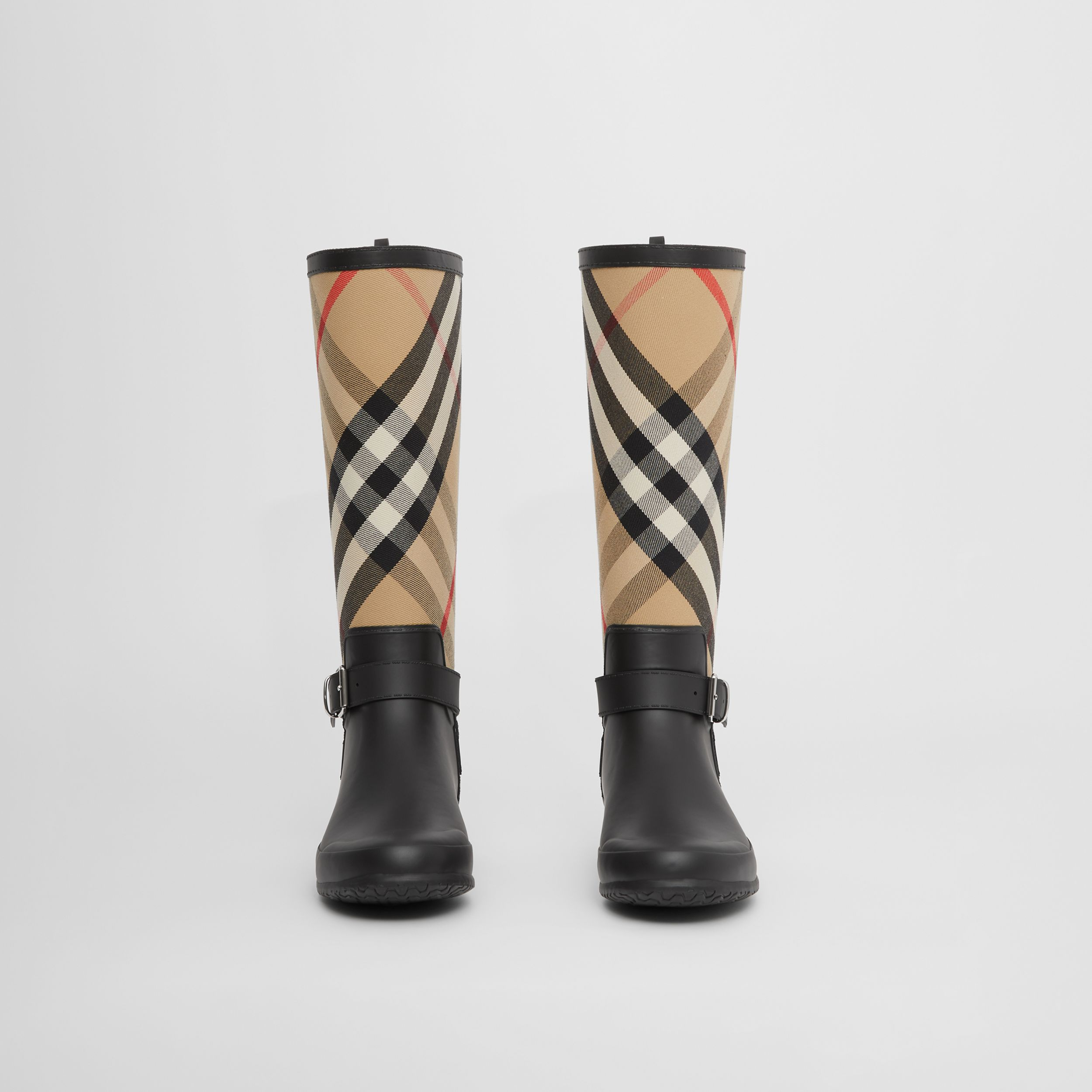 Strap Detail House Check and Rubber Rain Boots in Black/archive Beige - Women | Burberry - 4
