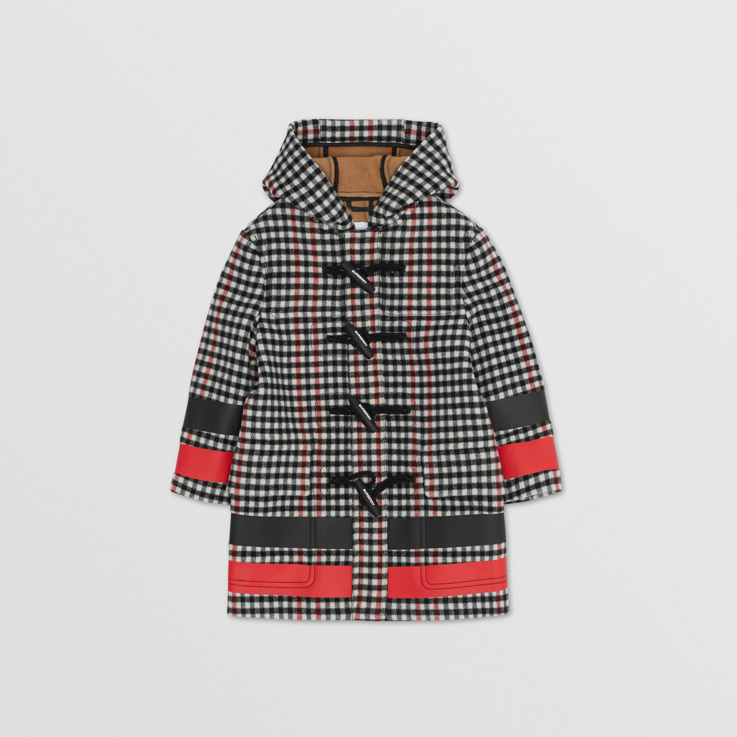 Stripe Print Check Wool Duffle Coat in Black | Burberry - 1