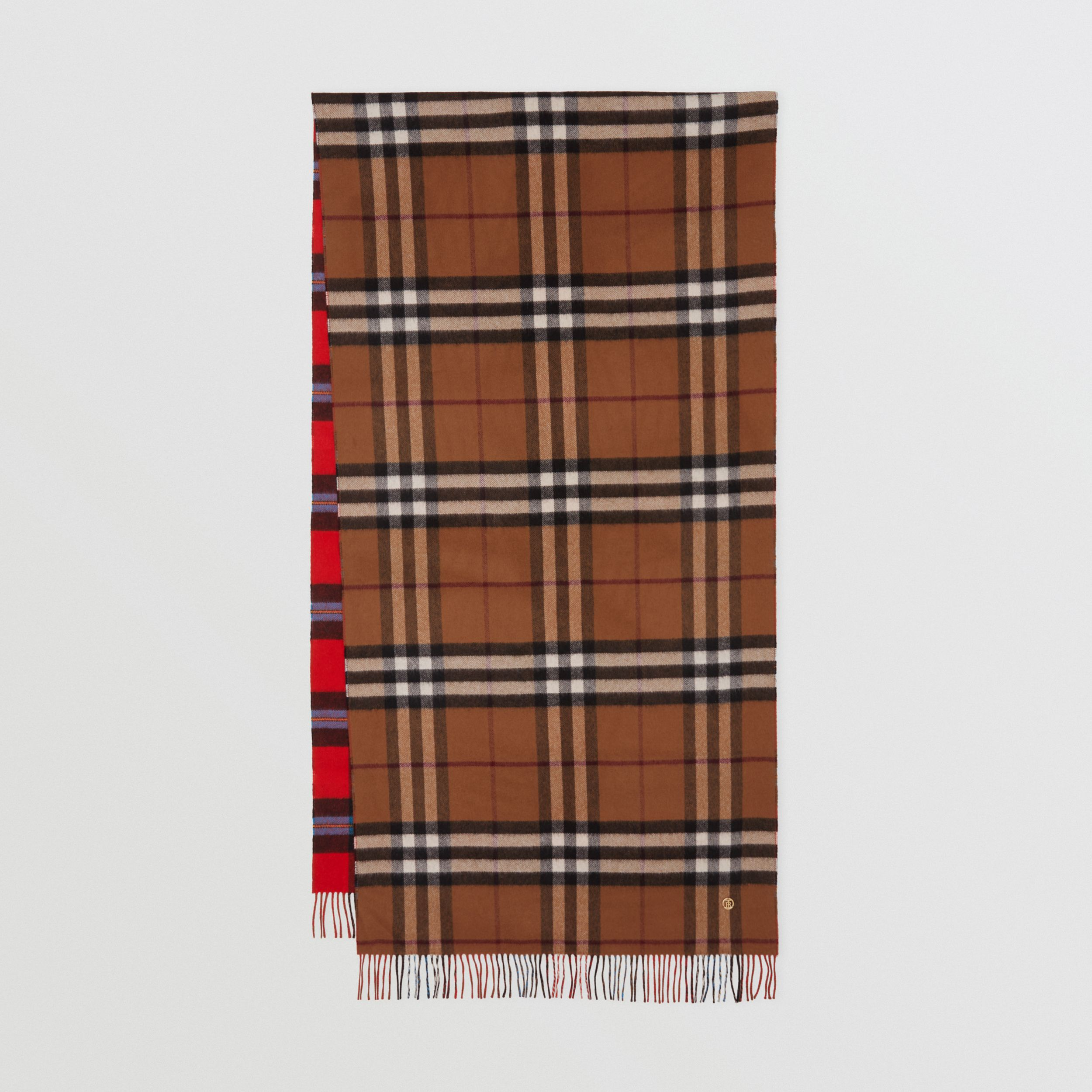 Reversible Contrast Check Cashmere Scarf in Birch Brown | Burberry - 1