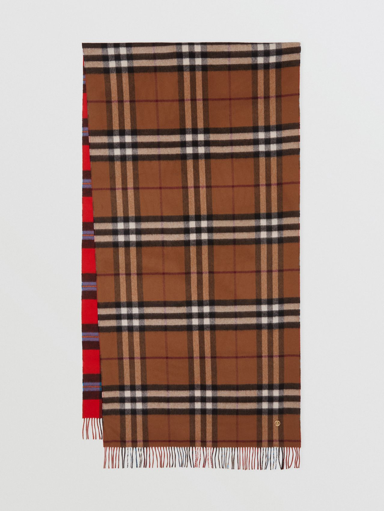 Reversible Contrast Check Cashmere Scarf in Birch Brown