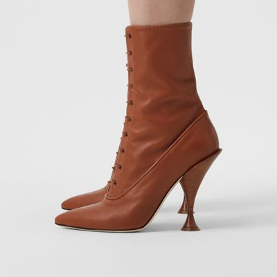 Lambskin Lace-up Ankle Boots in Tan