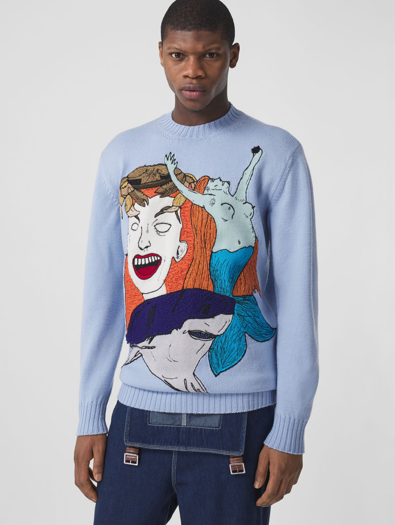 Marine Sketch Intarsia Wool Sweater in Pale Blue