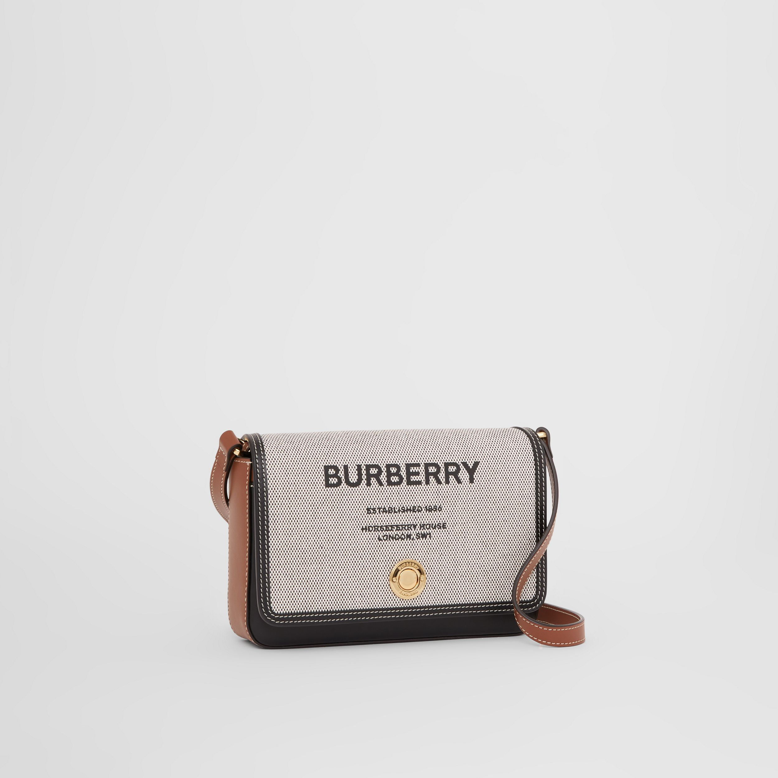 Horseferry Print Canvas and Leather Crossbody Bag in Black/tan - Women | Burberry - 4