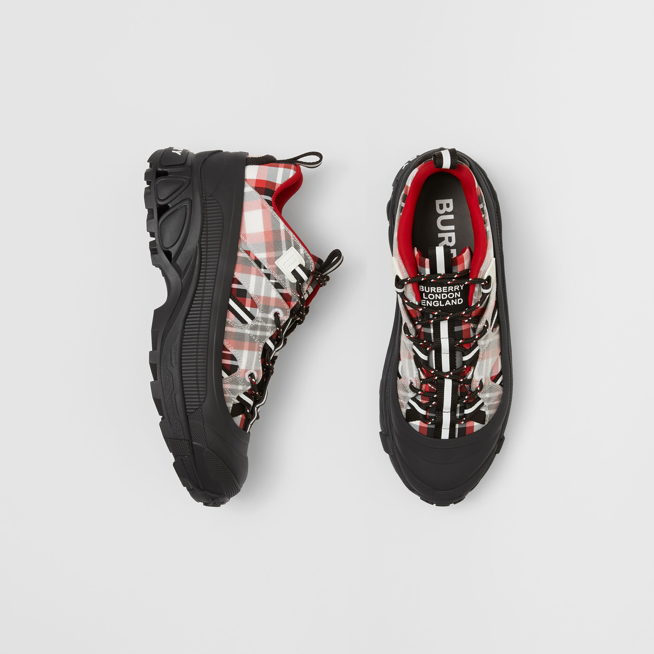 Tartan Nylon Arthur Sneakers in Red/black/white - Women | Burberry - 1