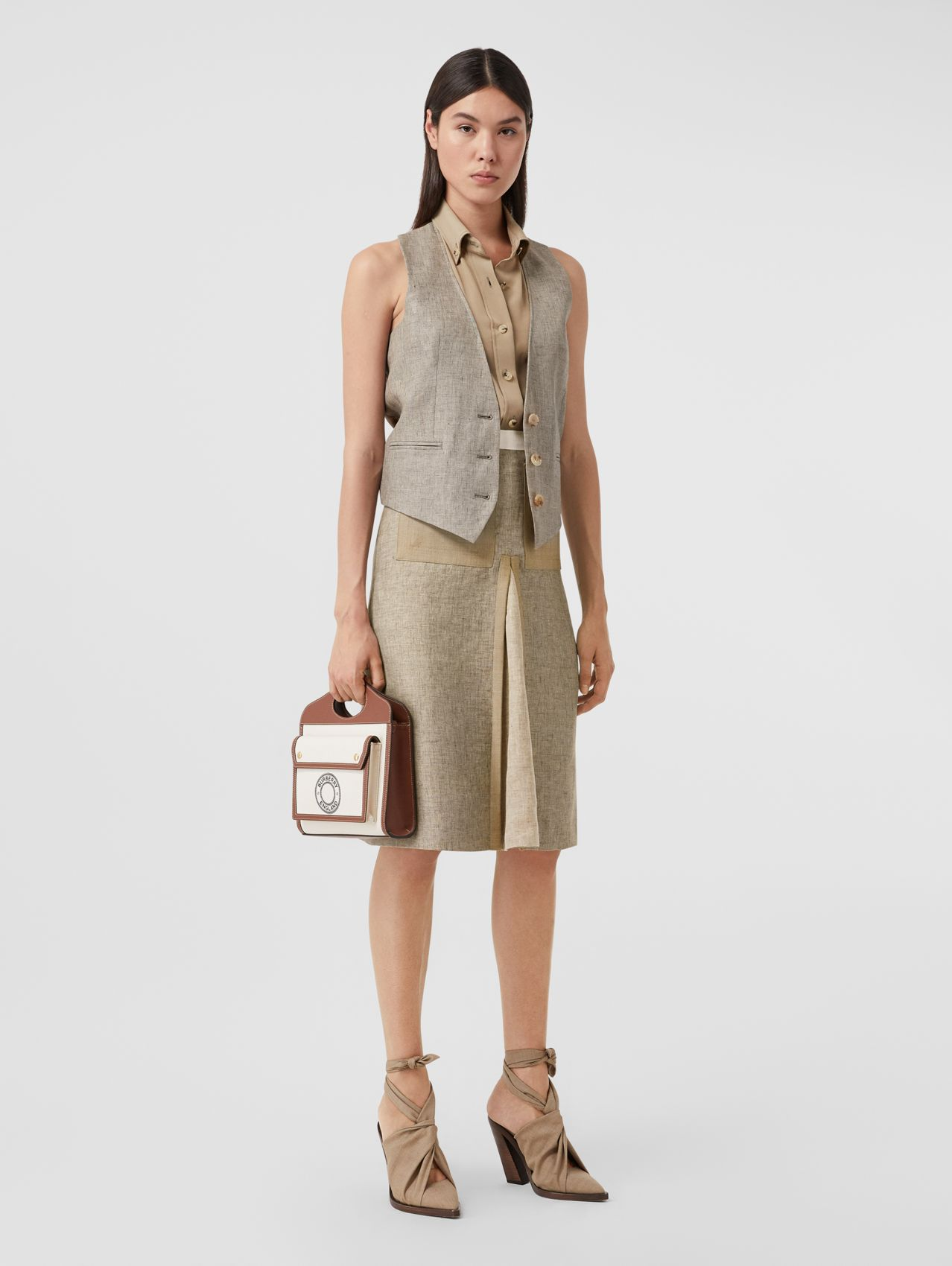 Contrast Seam and Box-pleat Detail Linen A-line Skirt in Cedar Brown Melange