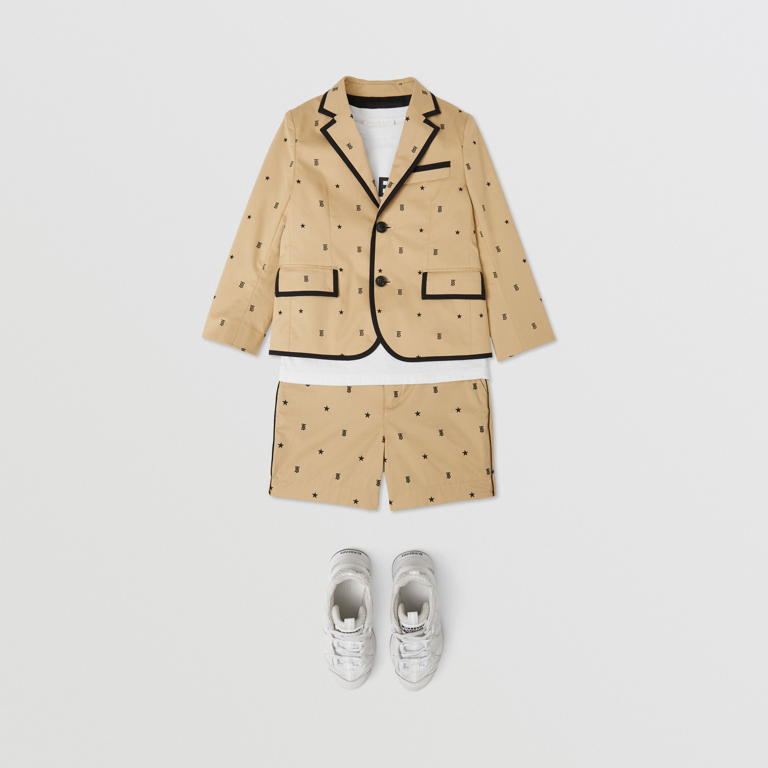 Star and Monogram Motif Stretch Cotton Blazer in Sand | Burberry - 3