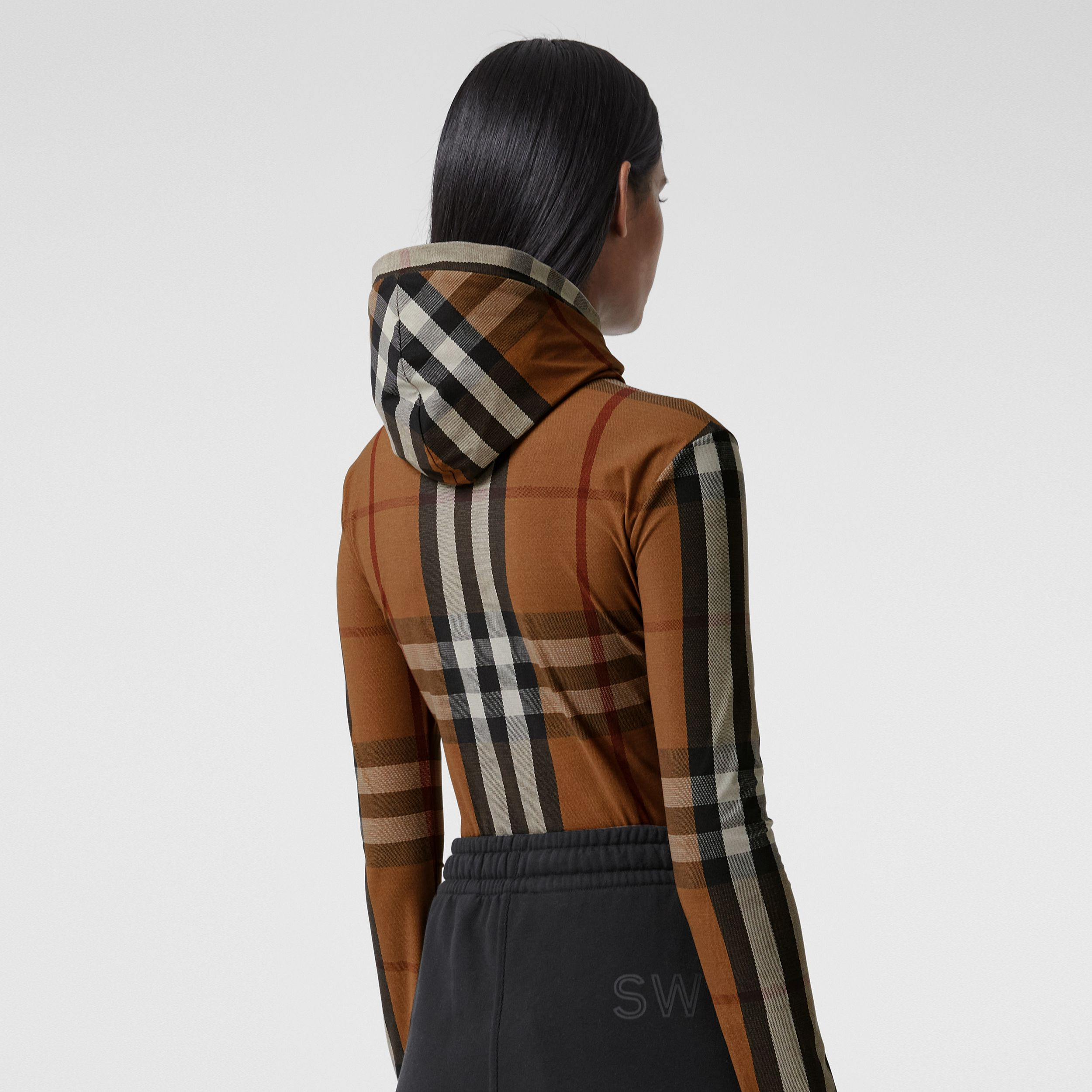 Check Stretch Jersey Hooded Top in Birch Brown - Women | Burberry - 3