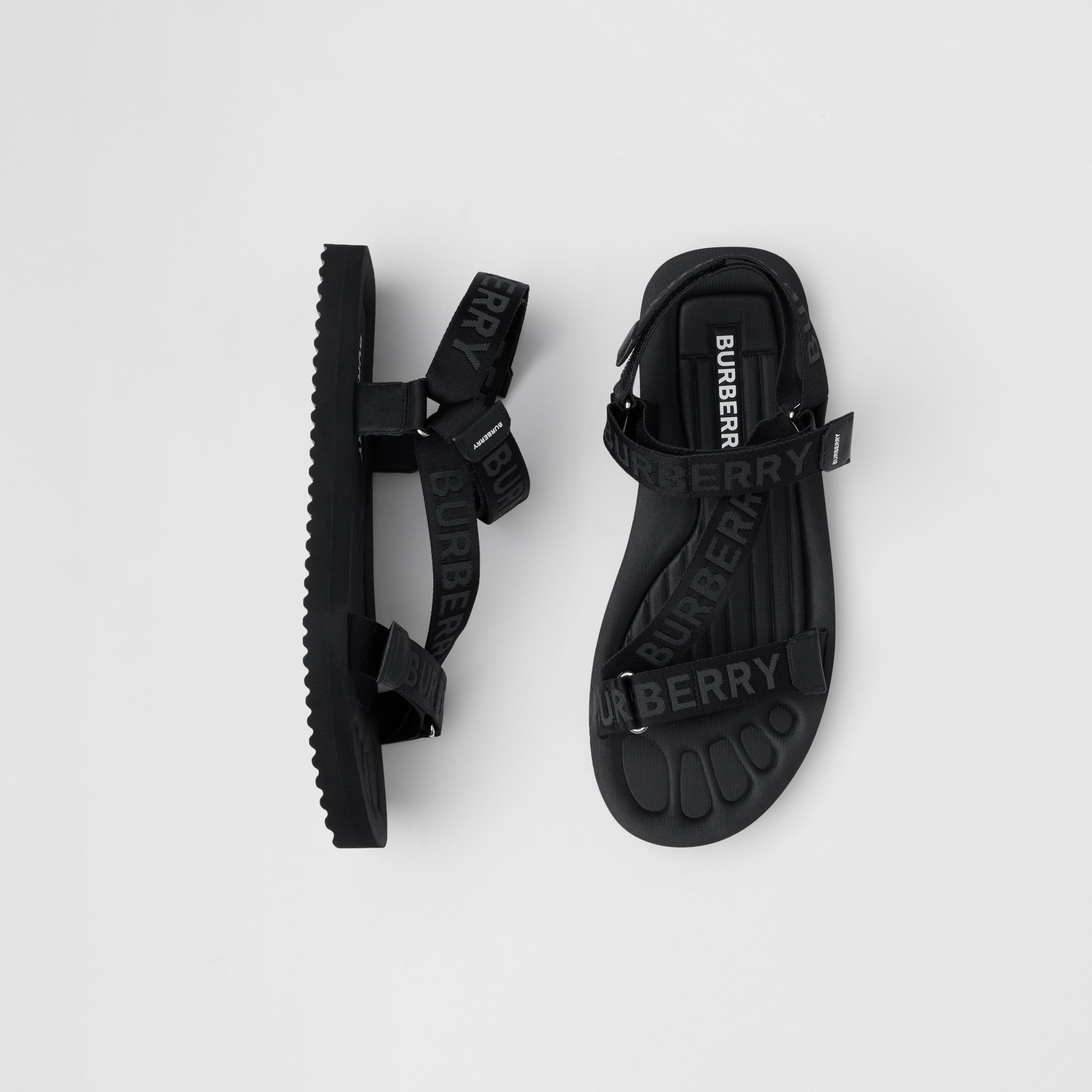 Logo Jacquard Sandals in Black - Men | Burberry Canada - 1