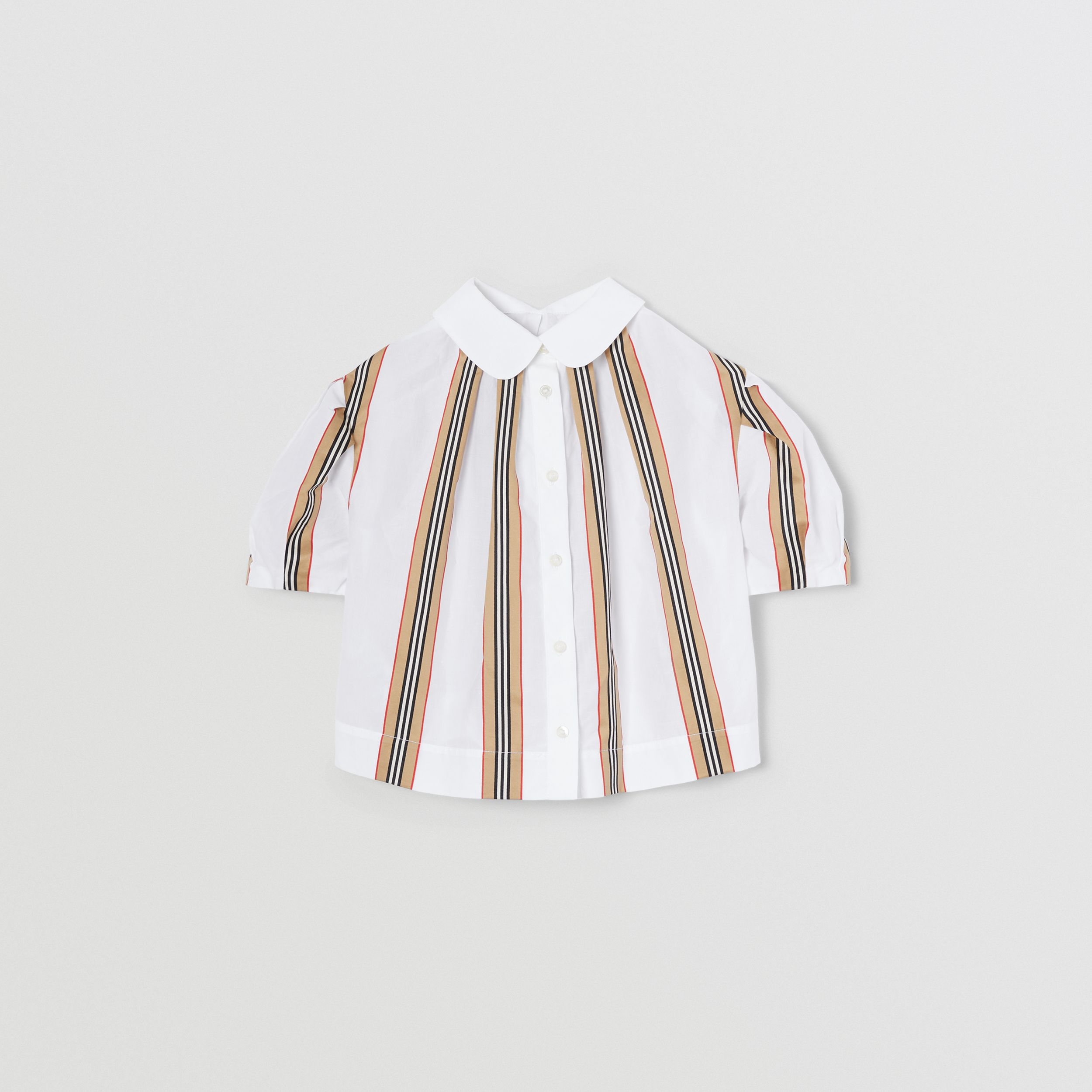 Peter Pan Collar Icon Stripe Cotton Blouse in White | Burberry - 4