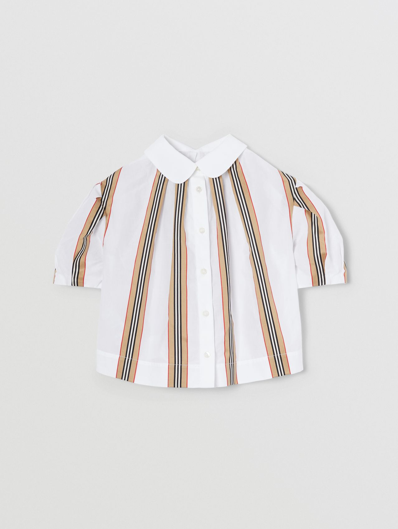 Peter Pan Collar Icon Stripe Cotton Blouse in White