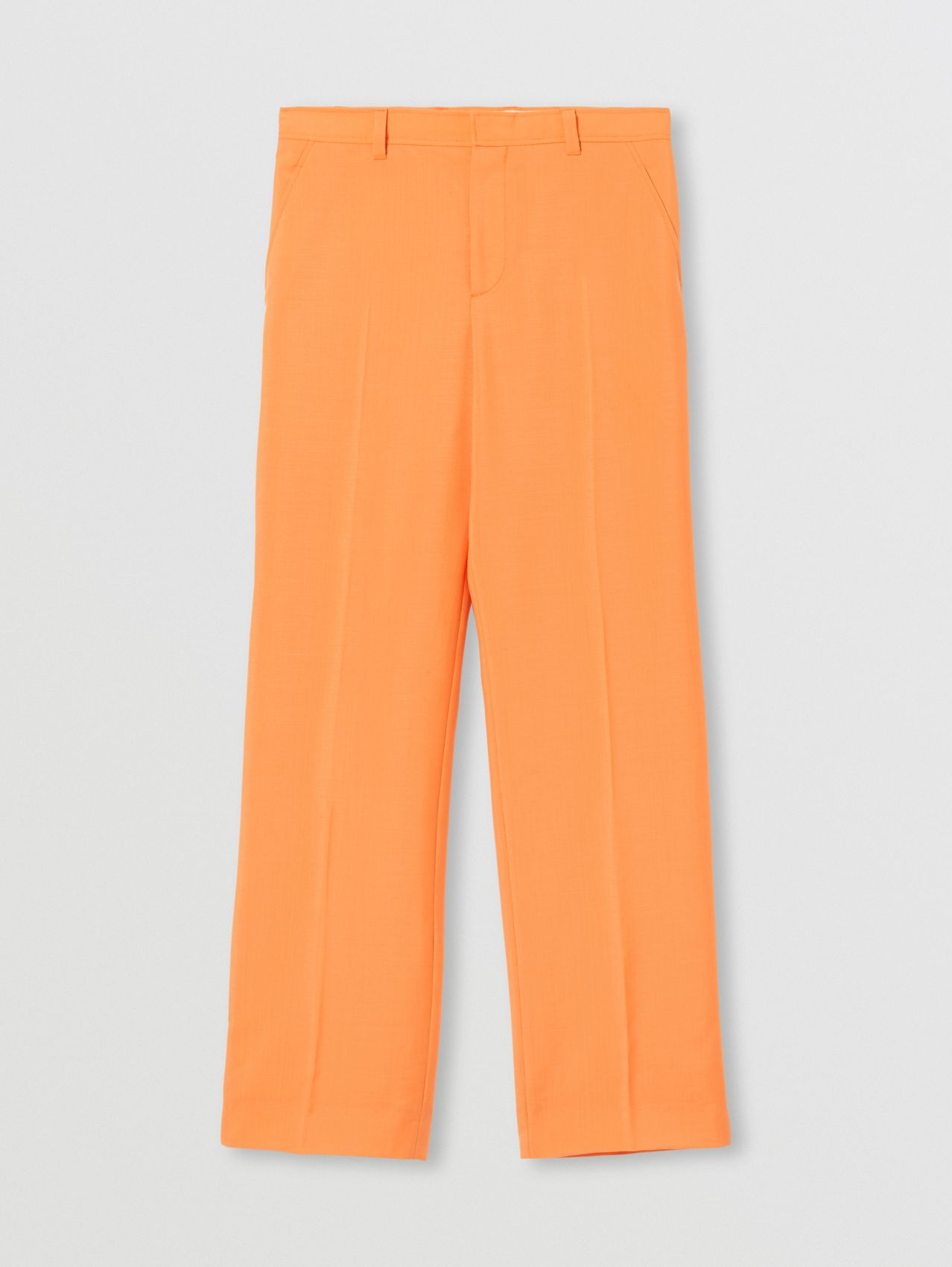 Mohair Wool Wide-leg Trousers in Amber Orange