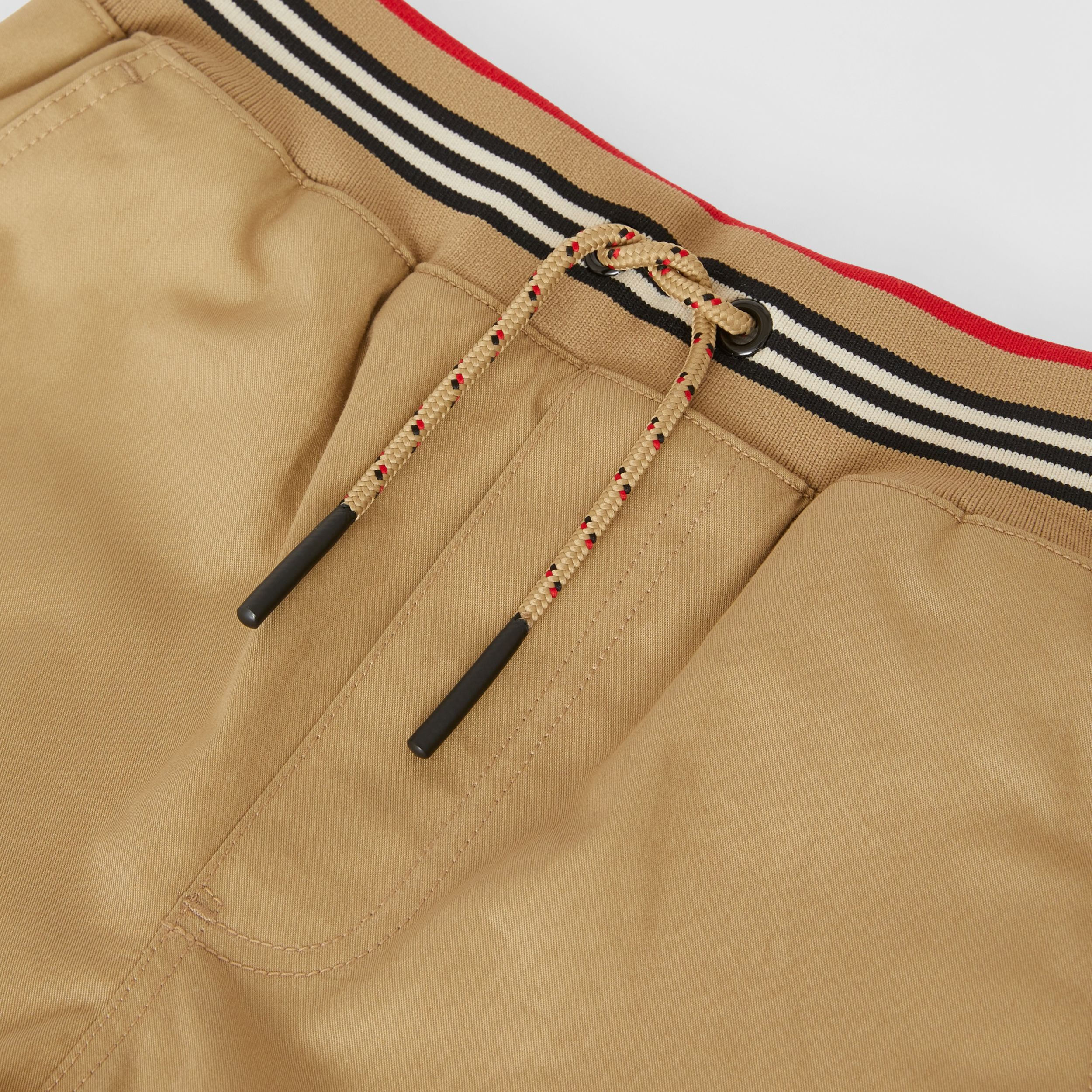 Icon Stripe Detail Cotton Twill Shorts in Honey | Burberry - 2