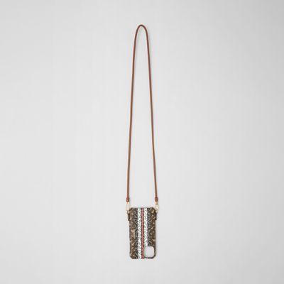 Monogram Stripe iPhone 11 Pro Case Lanyard in Bridle Brown | Burberry Hong Kong S.A.R.