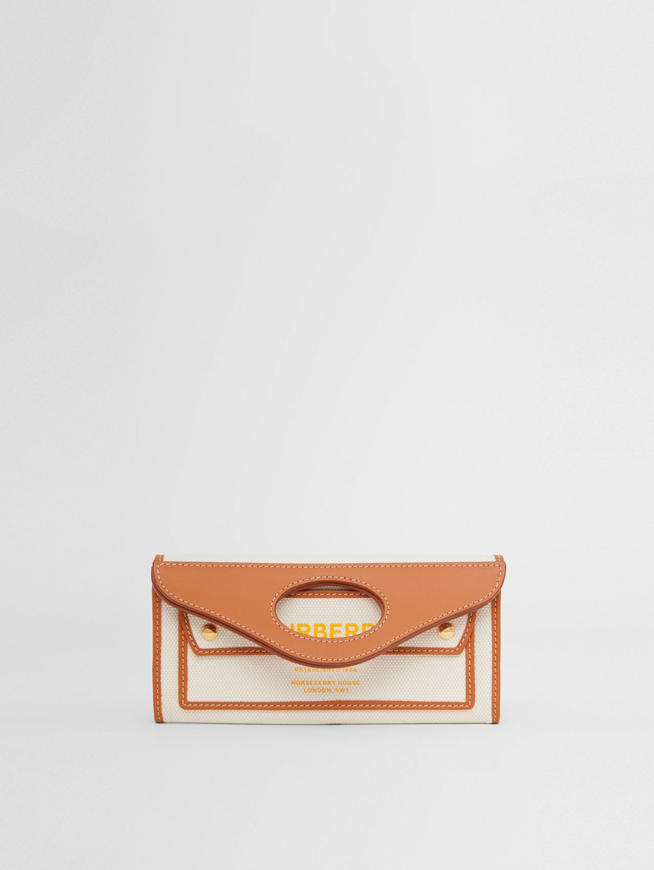 Mini Two-tone Canvas and Leather Pocket Clutch in Dark Amber/yellow