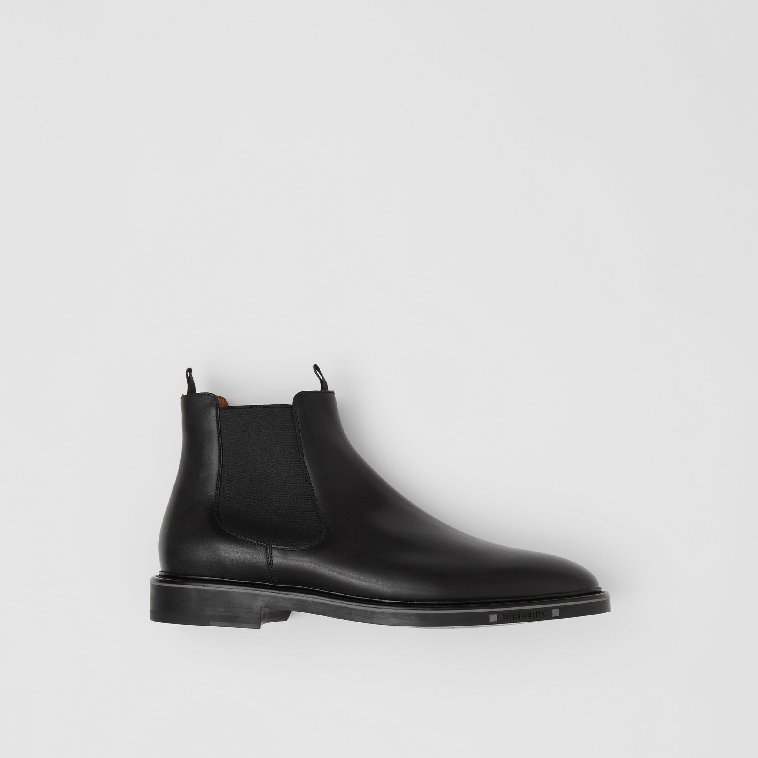 Logo Detail Leather Chelsea Boots in Black - Men | Burberry - 1