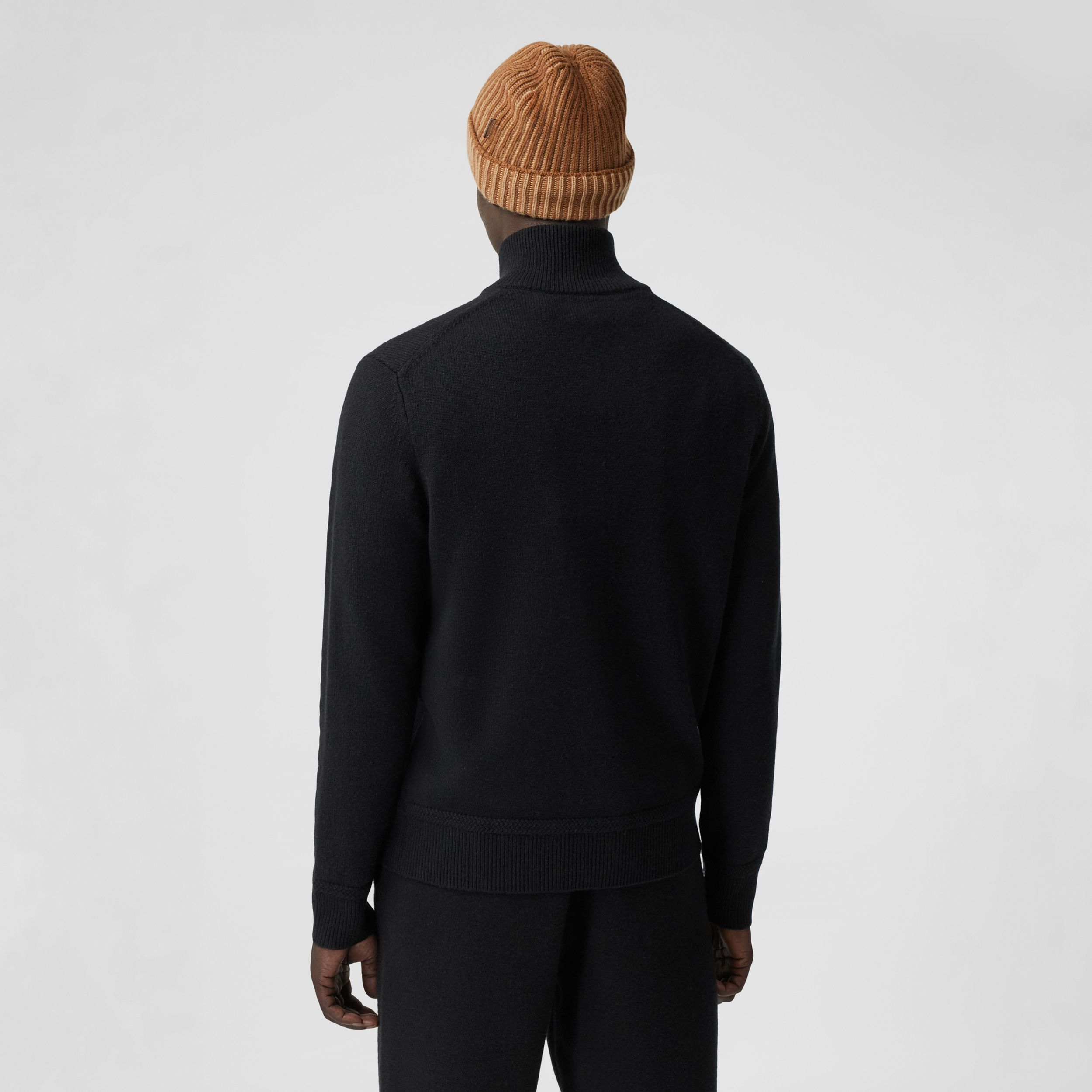 Monogram Motif Cashmere Funnel Neck Sweater in Black - Men | Burberry - 3