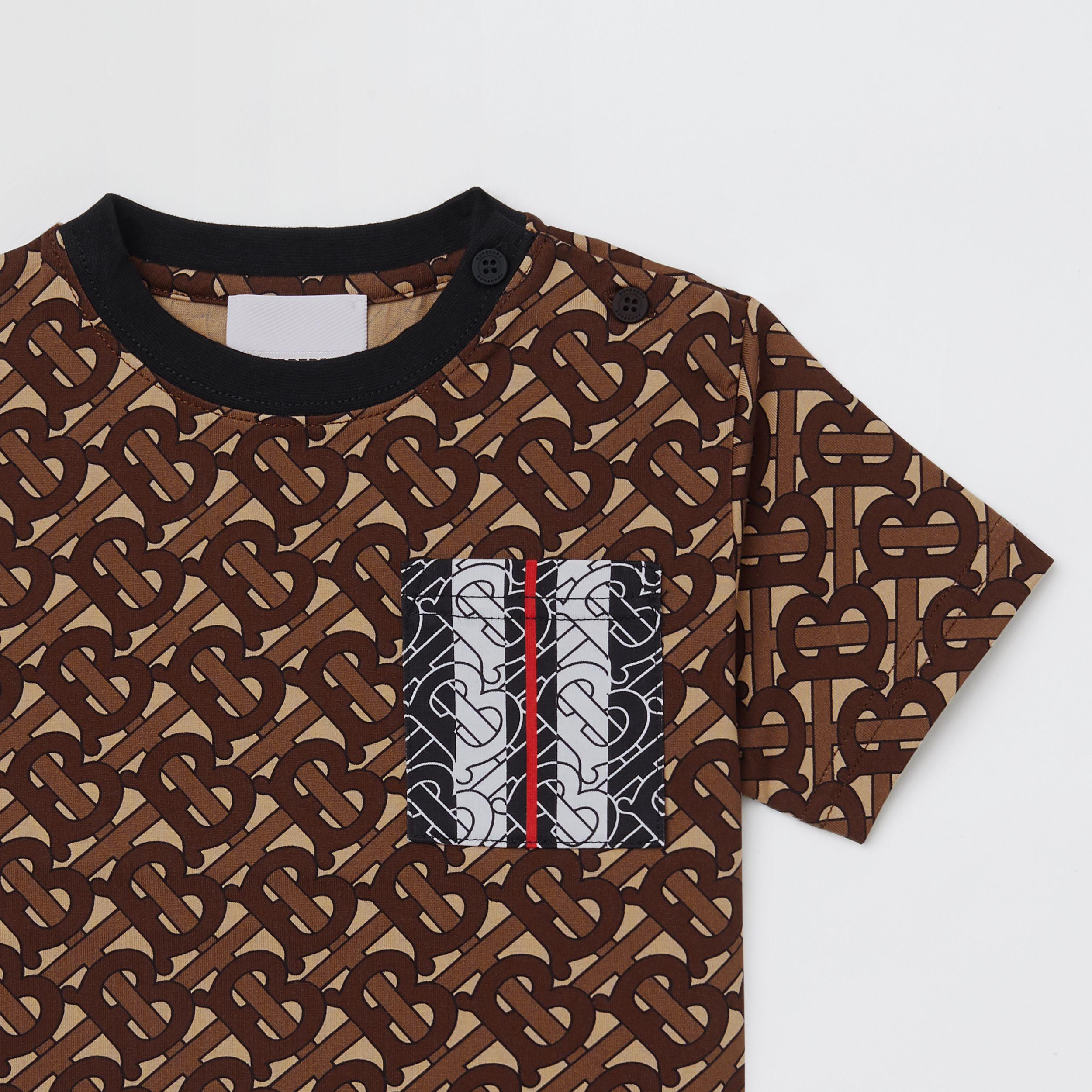 Monogram Stripe Print Cotton T-shirt in Bridle Brown - Children | Burberry Singapore - 4