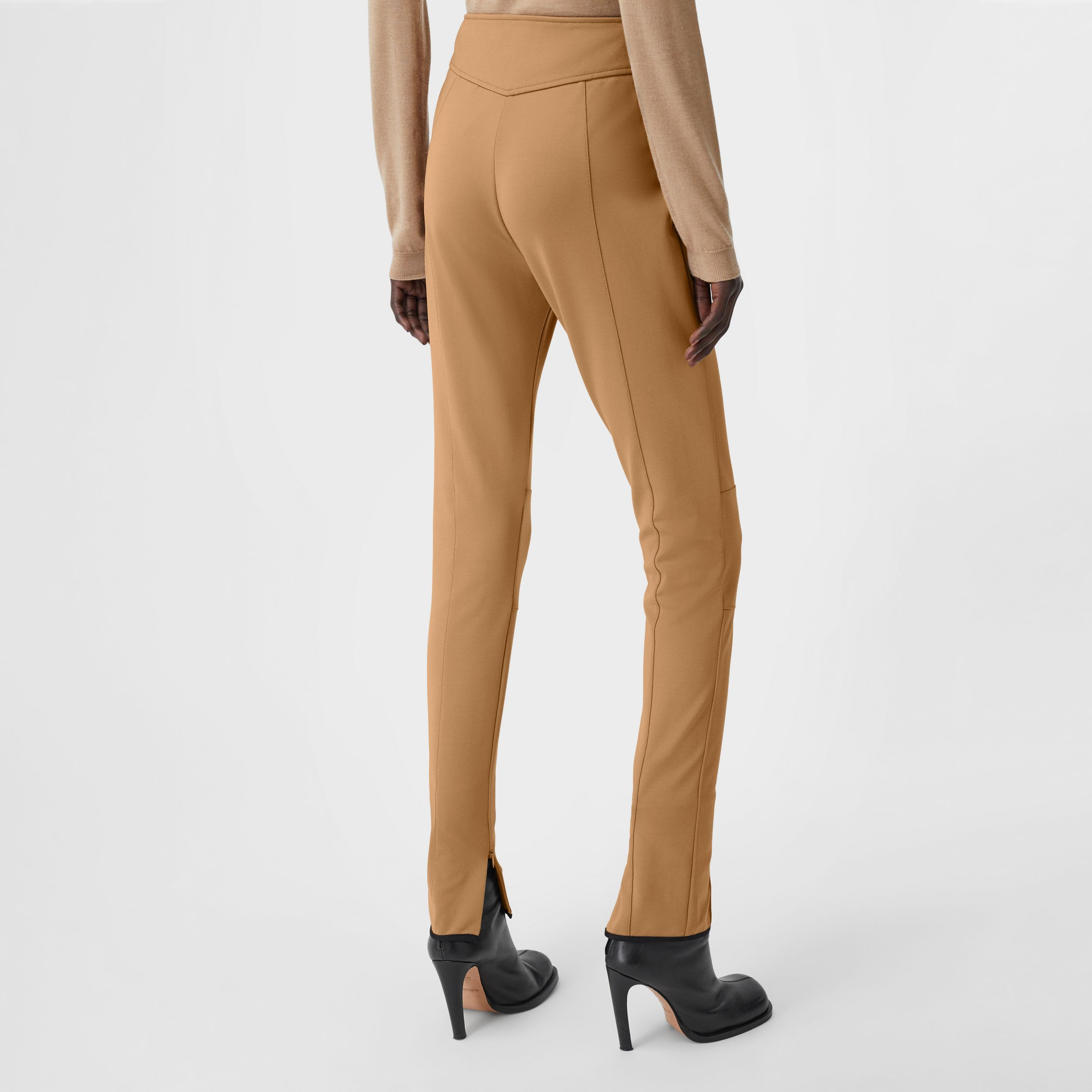 Stretch Crepe Jersey Jodhpurs in Dark Tan - Women | Burberry - 3