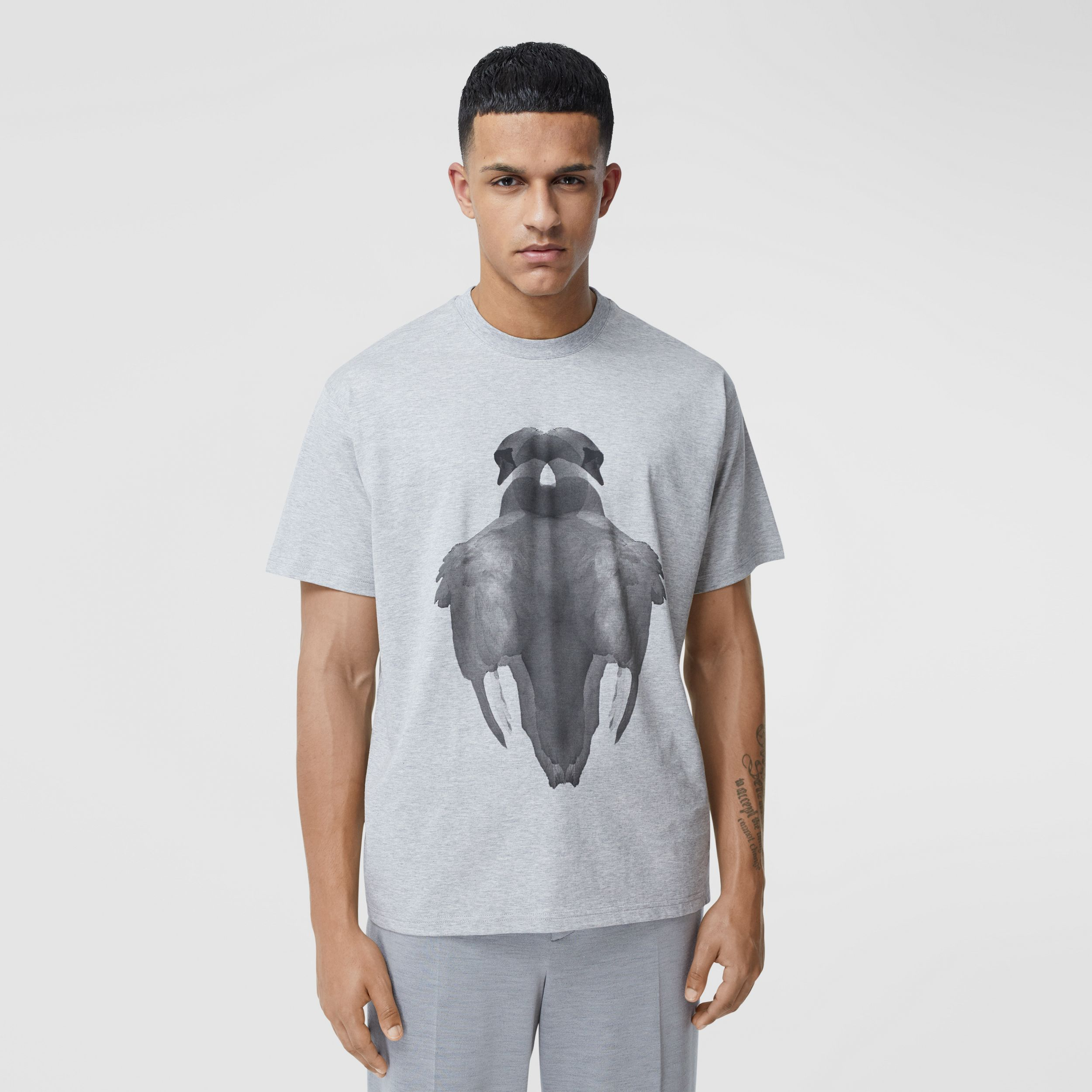 Swan Print Cotton Oversized T-shirt - Men | Burberry - 1