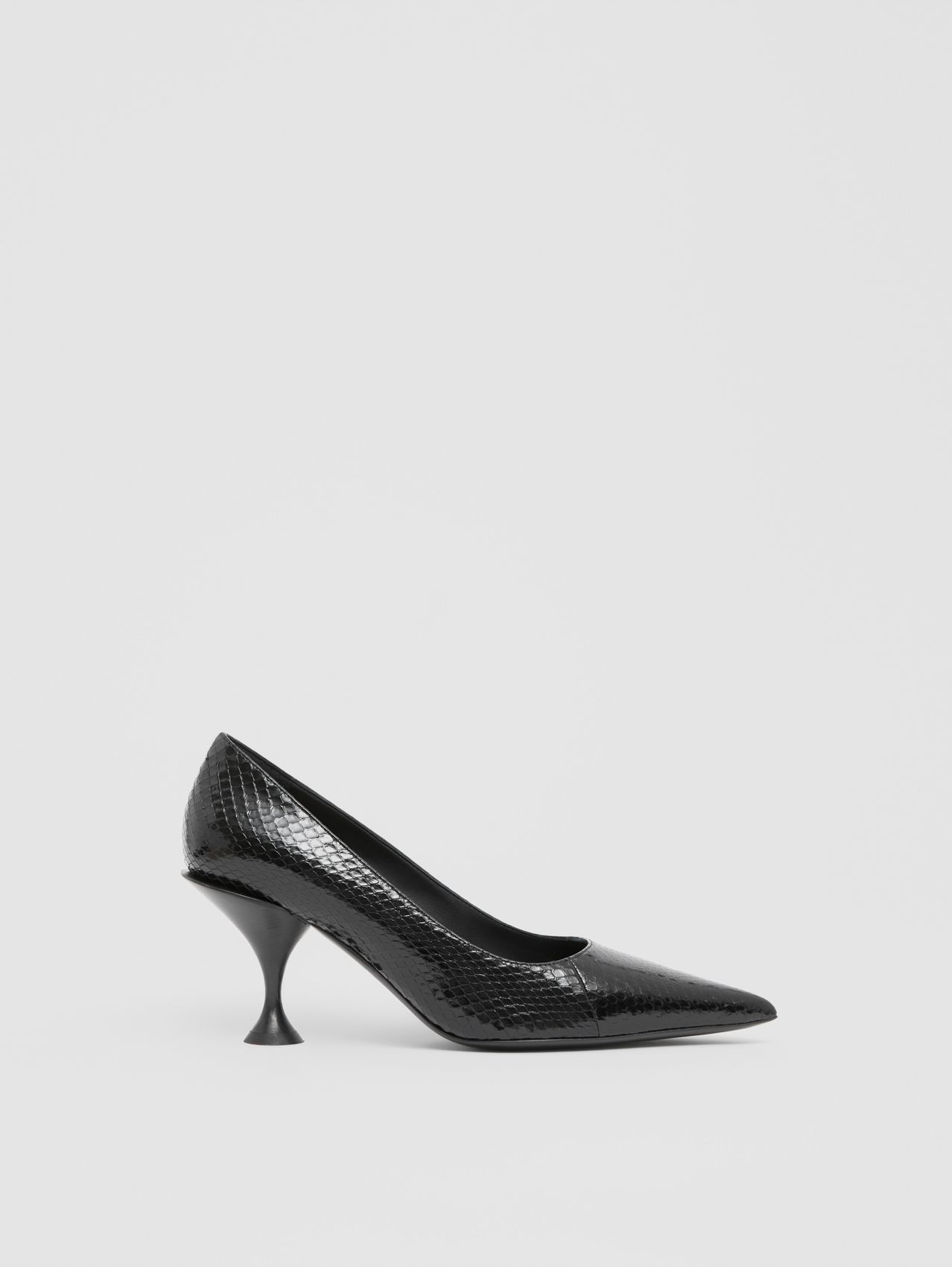 Snakeskin Point-toe Pumps in Black