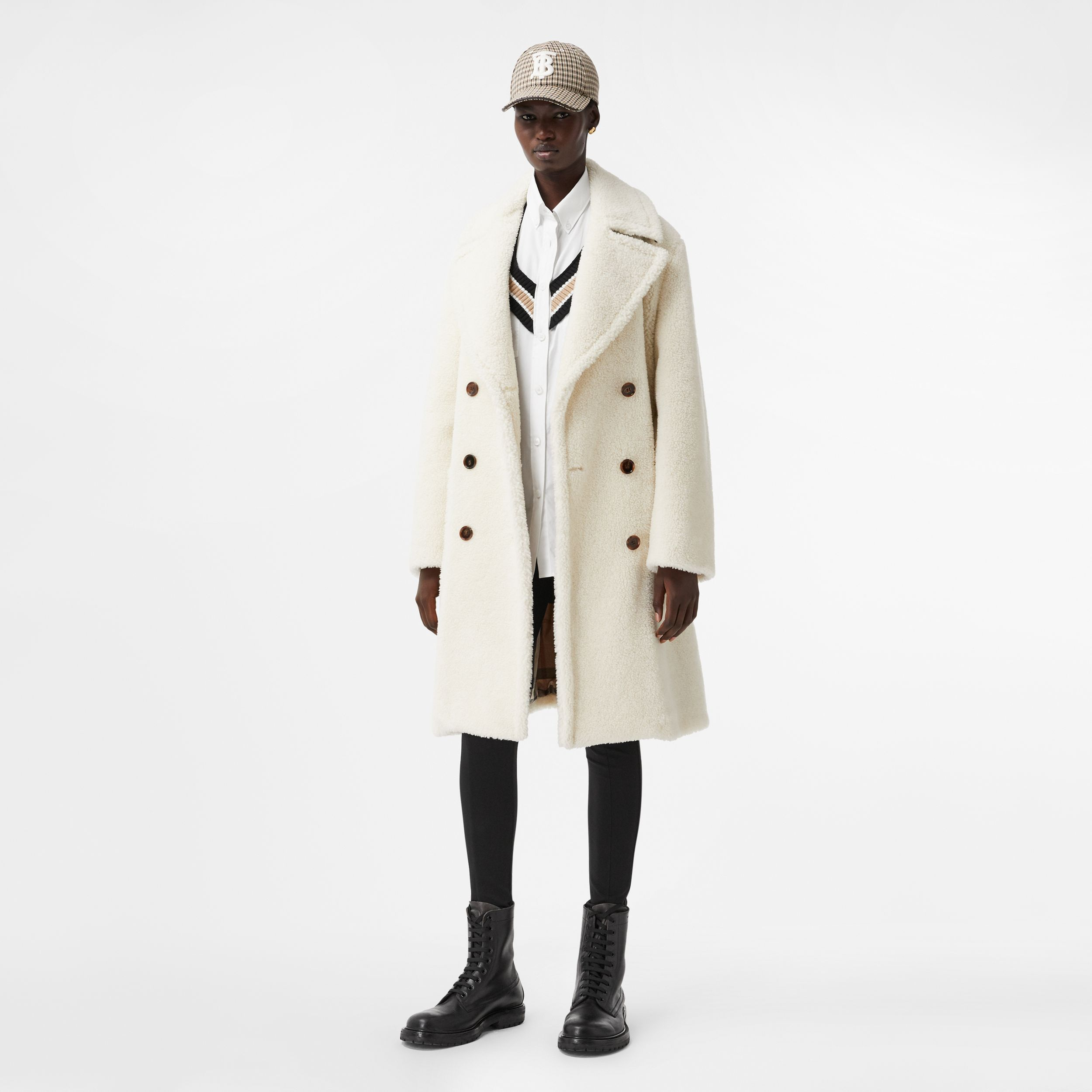 Technical Wool Fleece Double-breasted Coat in Ivory - Women | Burberry - 1